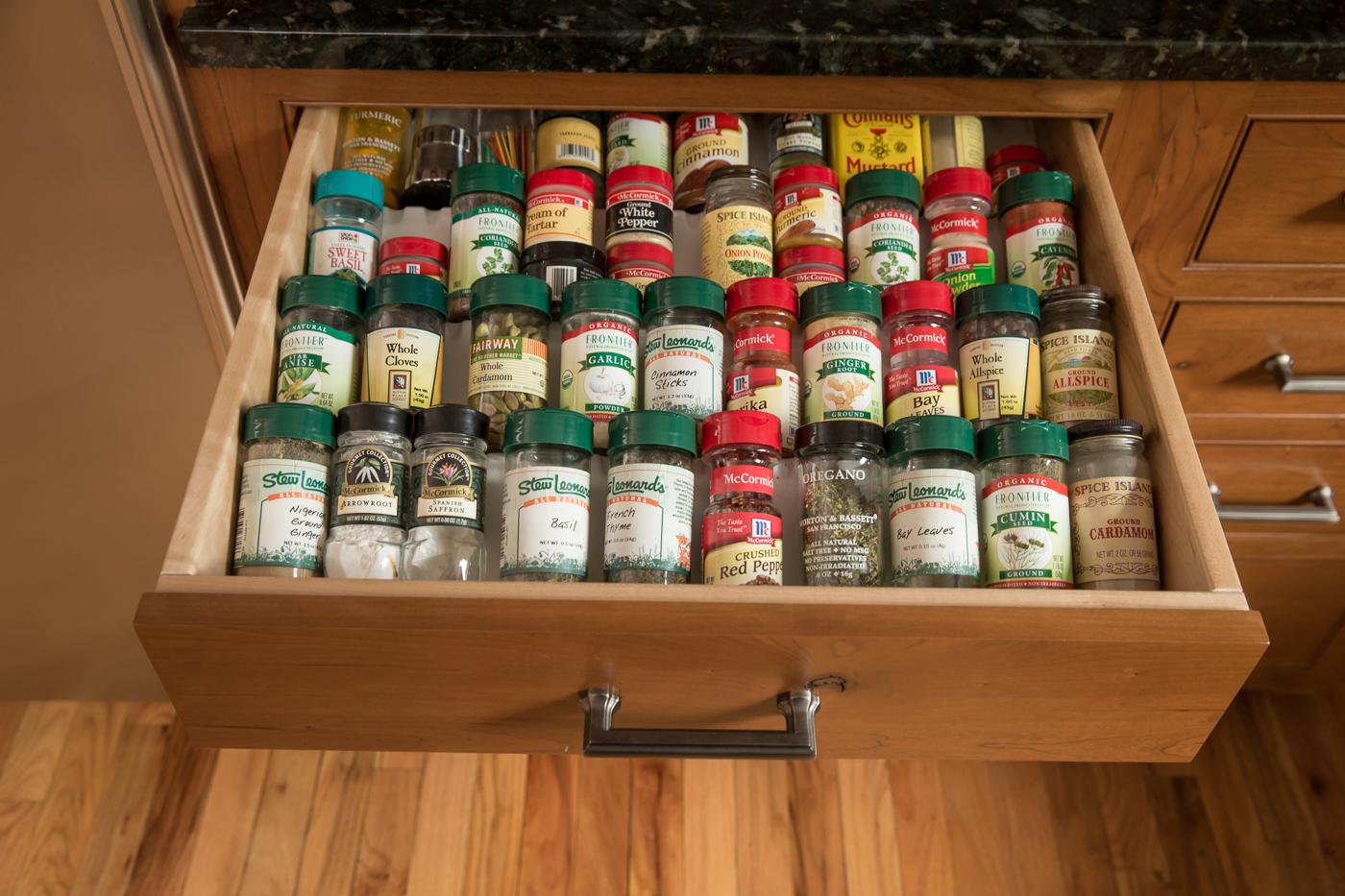 Kitchen drawer wood spice organizer