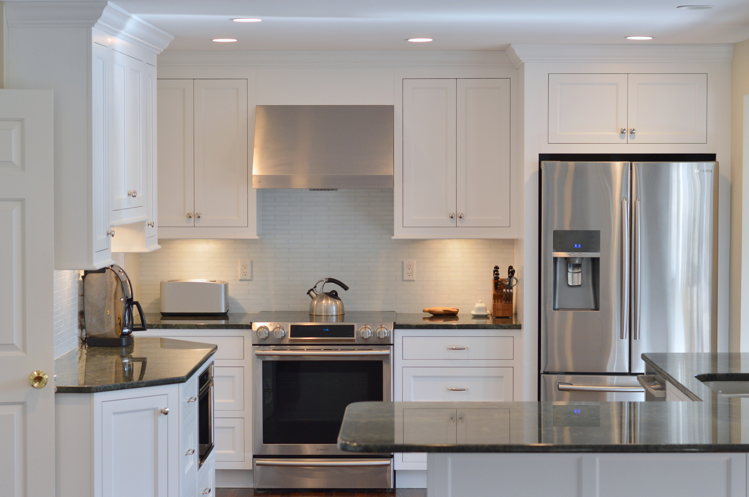 White Inset Kitchen Cabinets - Stainless Steel Appliances