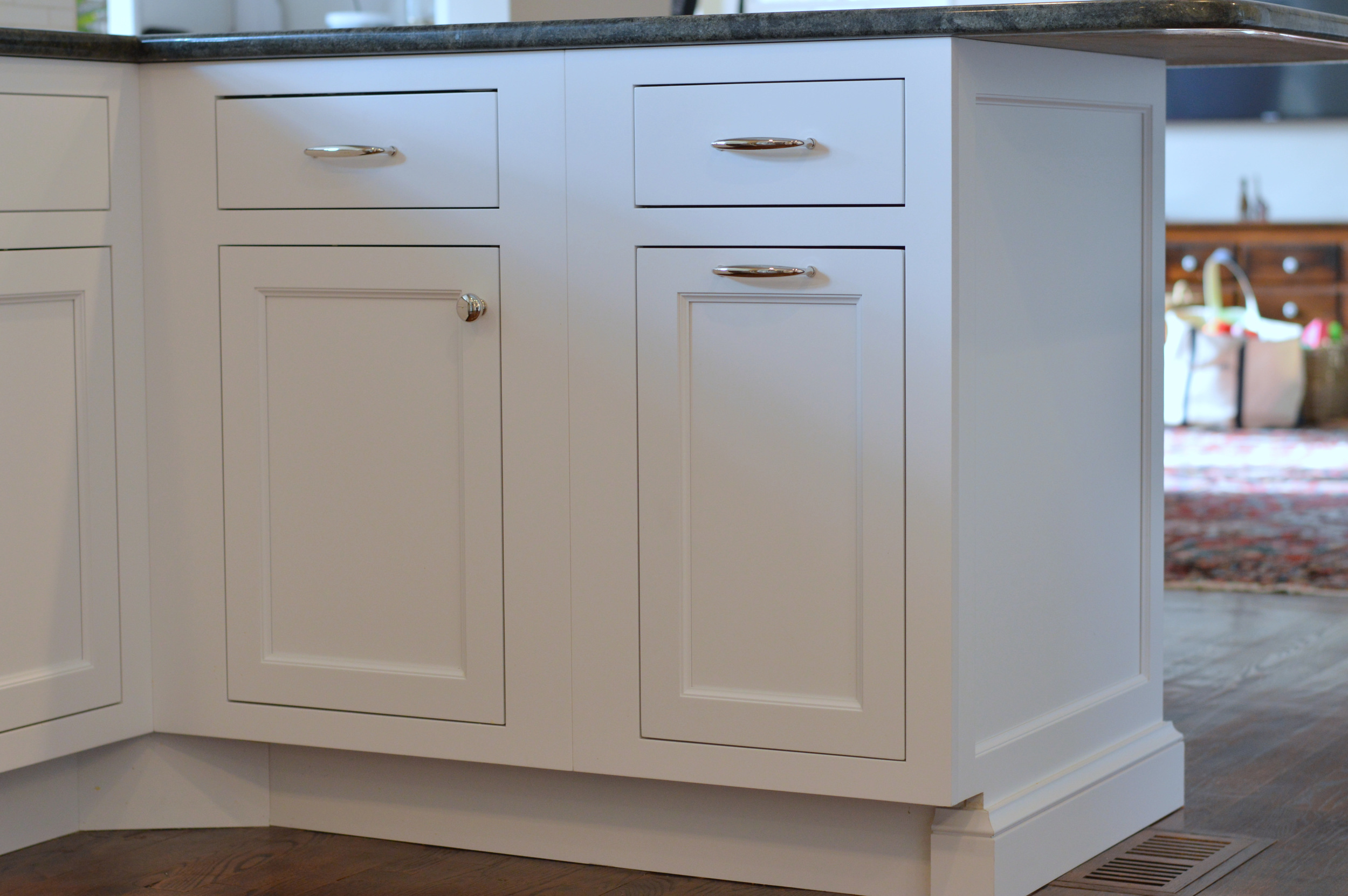 White Kitchen Cabinet End Panel and Baseboard