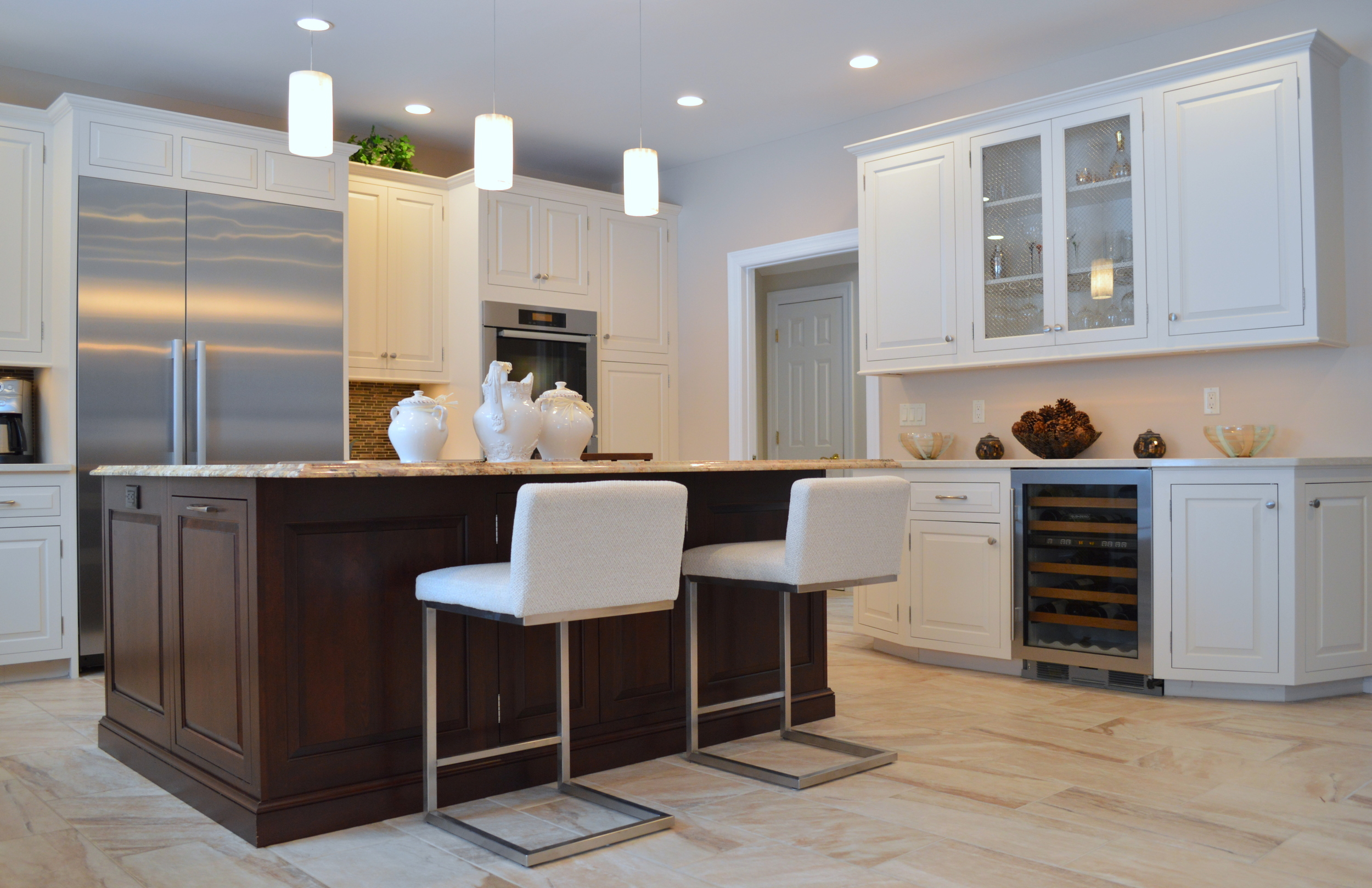 White Kitchen Cabinets and Dark Stained Wood Island - Katonah NY | Ackley Cabinet LLC