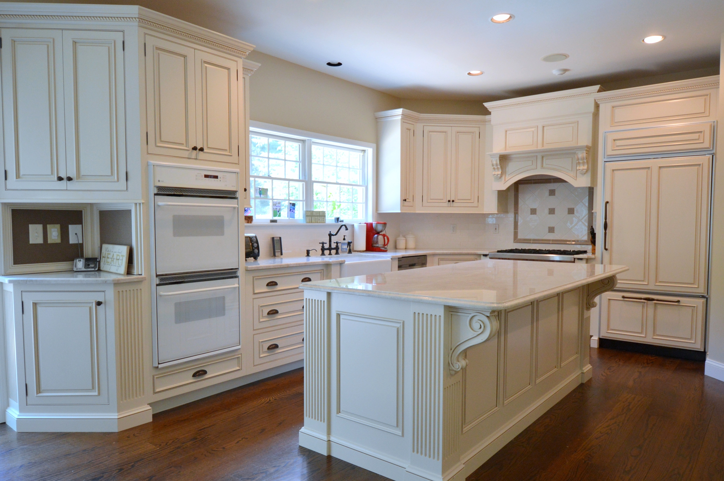 Antique Tuscan White Custom Kitchen Cabinets - Cross River NY