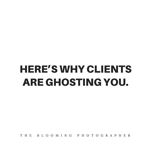 🚨 Spoiler Alert 🚨  How you follow up with a potential client matters! ⠀⠀⠀⠀⠀⠀⠀⠀⠀ ⠀⠀⠀⠀⠀⠀⠀⠀⠀ Did you know that most people contact more than one photographer before they actually book a session?⠀⠀⠀⠀⠀⠀⠀⠀⠀ ⠀⠀⠀⠀⠀⠀⠀⠀⠀ So it's safe to say somebody's probably going to get ghosted. ⠀⠀⠀⠀⠀⠀⠀⠀⠀ ⠀⠀⠀⠀⠀⠀⠀⠀⠀ Here's why potential clients are ghosting you:⠀⠀⠀⠀⠀⠀⠀⠀⠀ ⠀⠀⠀⠀⠀⠀⠀⠀⠀ 1️⃣ You're not actually selling yourself when you respond to an inquiry. 👉🏻 When you get an inquiry, you're in the SALES part of the customer path to purchase. ⠀⠀⠀⠀⠀⠀⠀⠀⠀ ⠀⠀⠀⠀⠀⠀⠀⠀⠀ 2️⃣ Your response focuses more on pricing than anything else. 😳⠀⠀⠀⠀⠀⠀⠀⠀⠀ ⠀⠀⠀⠀⠀⠀⠀⠀⠀ 3️⃣ You don't follow up multiple times. ⠀⠀⠀⠀⠀⠀⠀⠀⠀ ⠀⠀⠀⠀⠀⠀⠀⠀⠀ ❌If you're tired of being ghosted + ready to put a stop to it now instead of missing out on more clients, then 👉🏻👉🏻 click the link in my profile and sign up for my free marketing class. ⠀⠀⠀⠀⠀⠀⠀⠀⠀ ⠀⠀⠀⠀⠀⠀⠀⠀⠀ I'll teach you how to create a marketing plan that books out your calendar AND towards the end, there's a FREE bonus that shows you step by step how to quit getting ghosted once and for all.