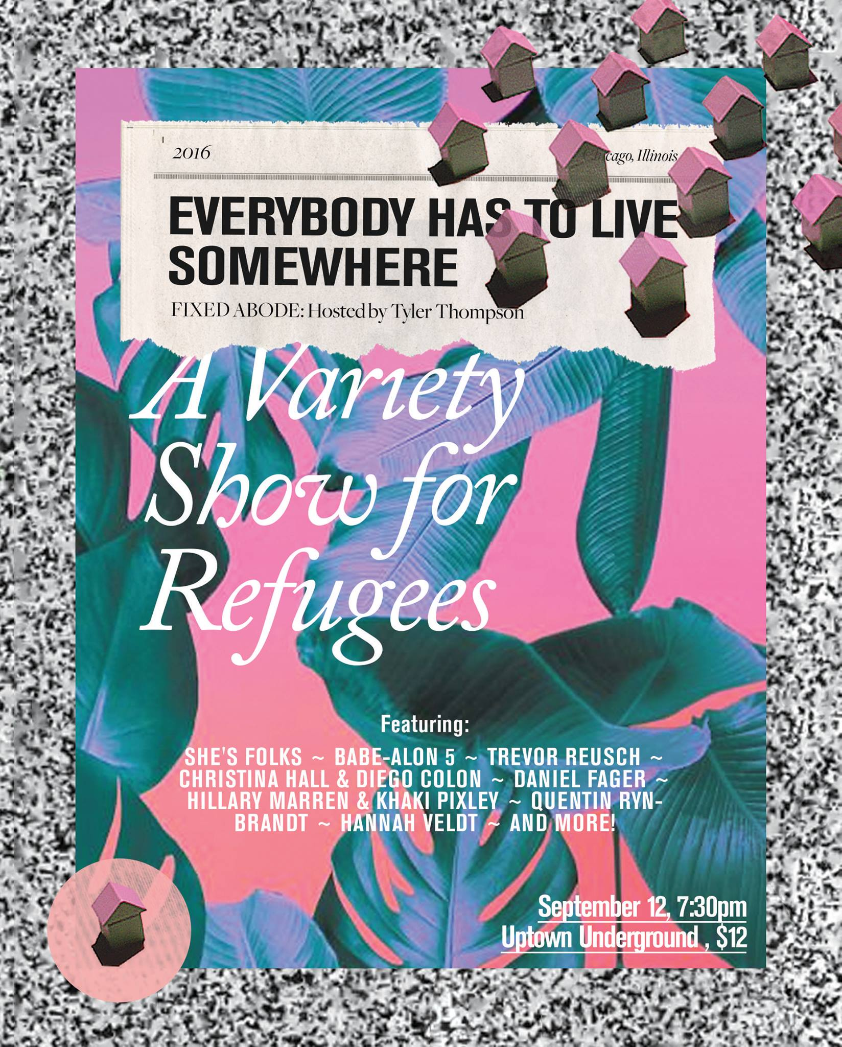 Can't make it to our August 25 & 26 shows? Come see She's Folks along with many other wonderful performers at Uptown Underground in Fixed Abode: A Variety Show for Refugees hosted by She's Folks member and dear friend Tyler Thompson. All proceeds benefit  Loom .