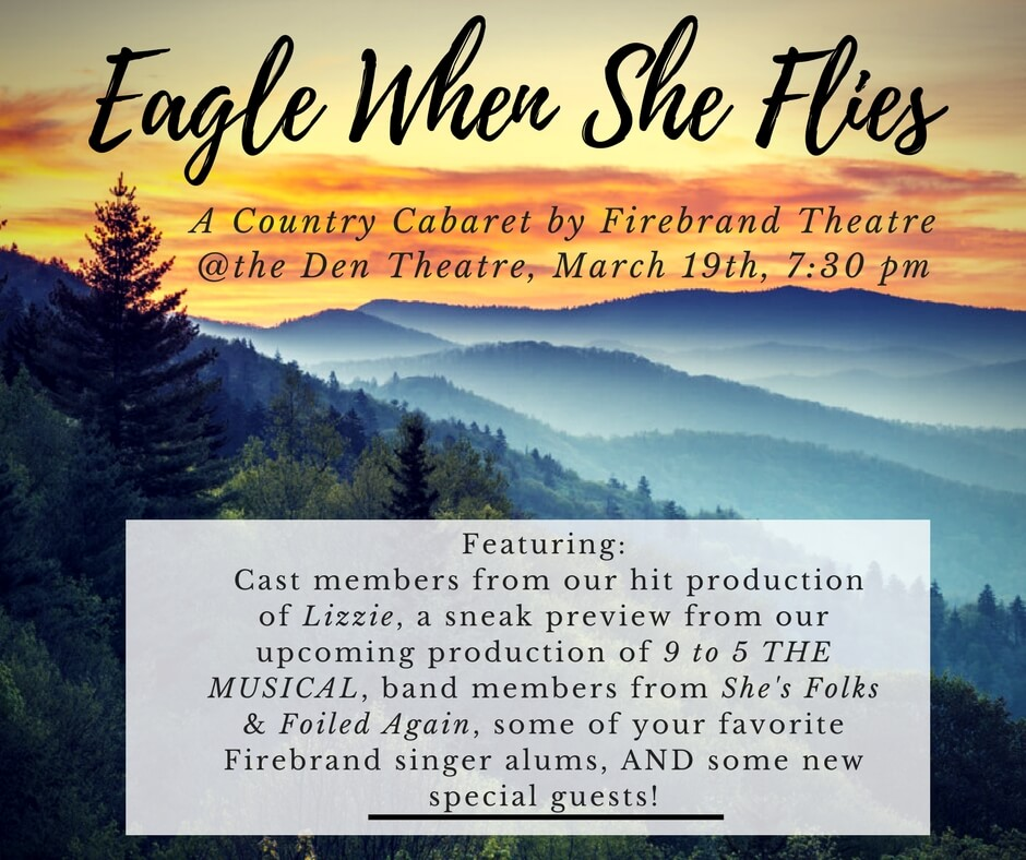 """She's Folks is excited to perform our song, """" Little Town Girl, """" to benefit Firebrand Theatre's upcoming production of Nine to Five (featuring She's Folkers Ted and Betsy!)  Tickets Here"""