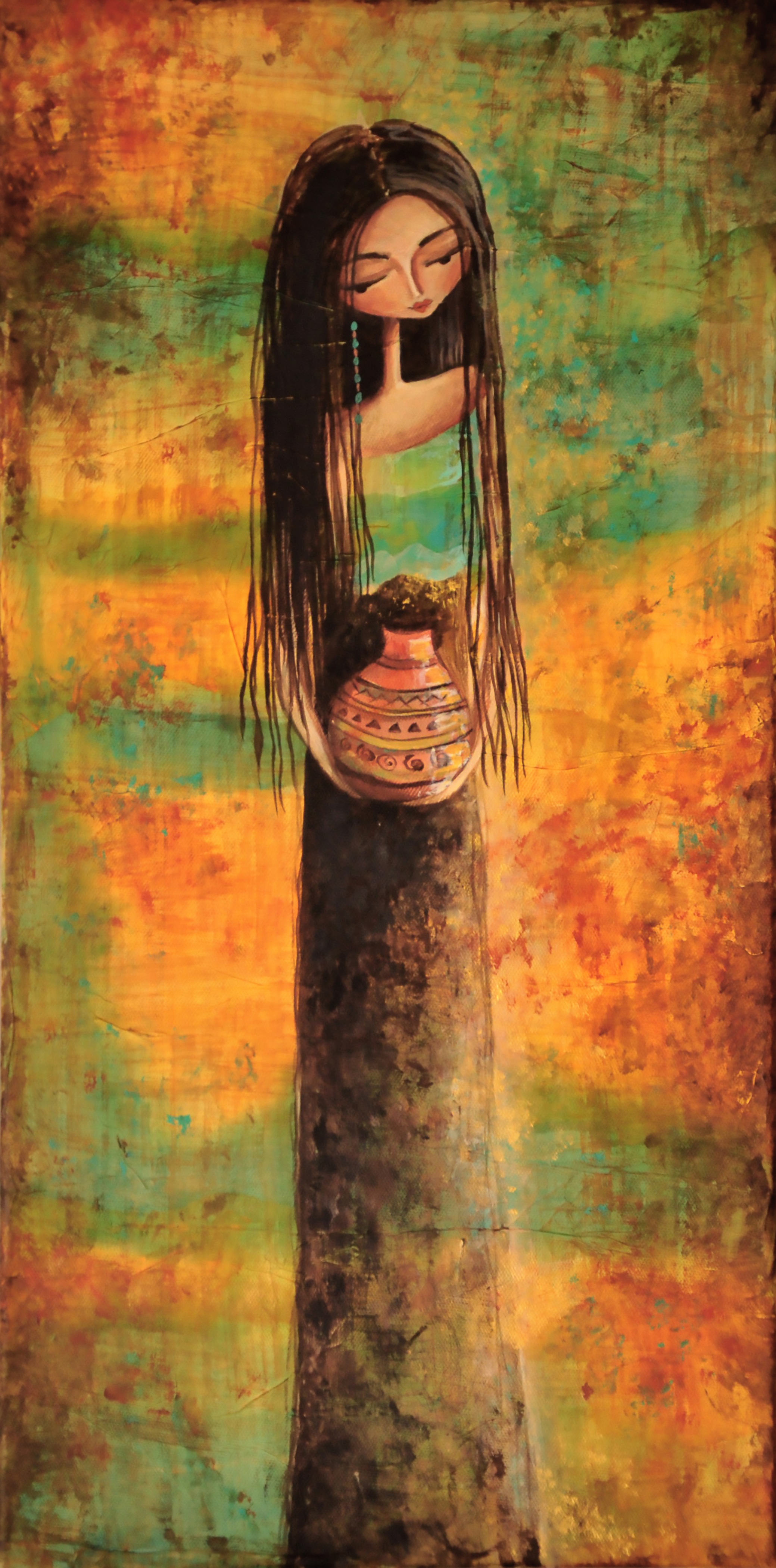 """The Girl in the Taos Desert""    12"" x 24"" Original Tissue & Acrylic on Canvas      $450.00  ""SOLD"""