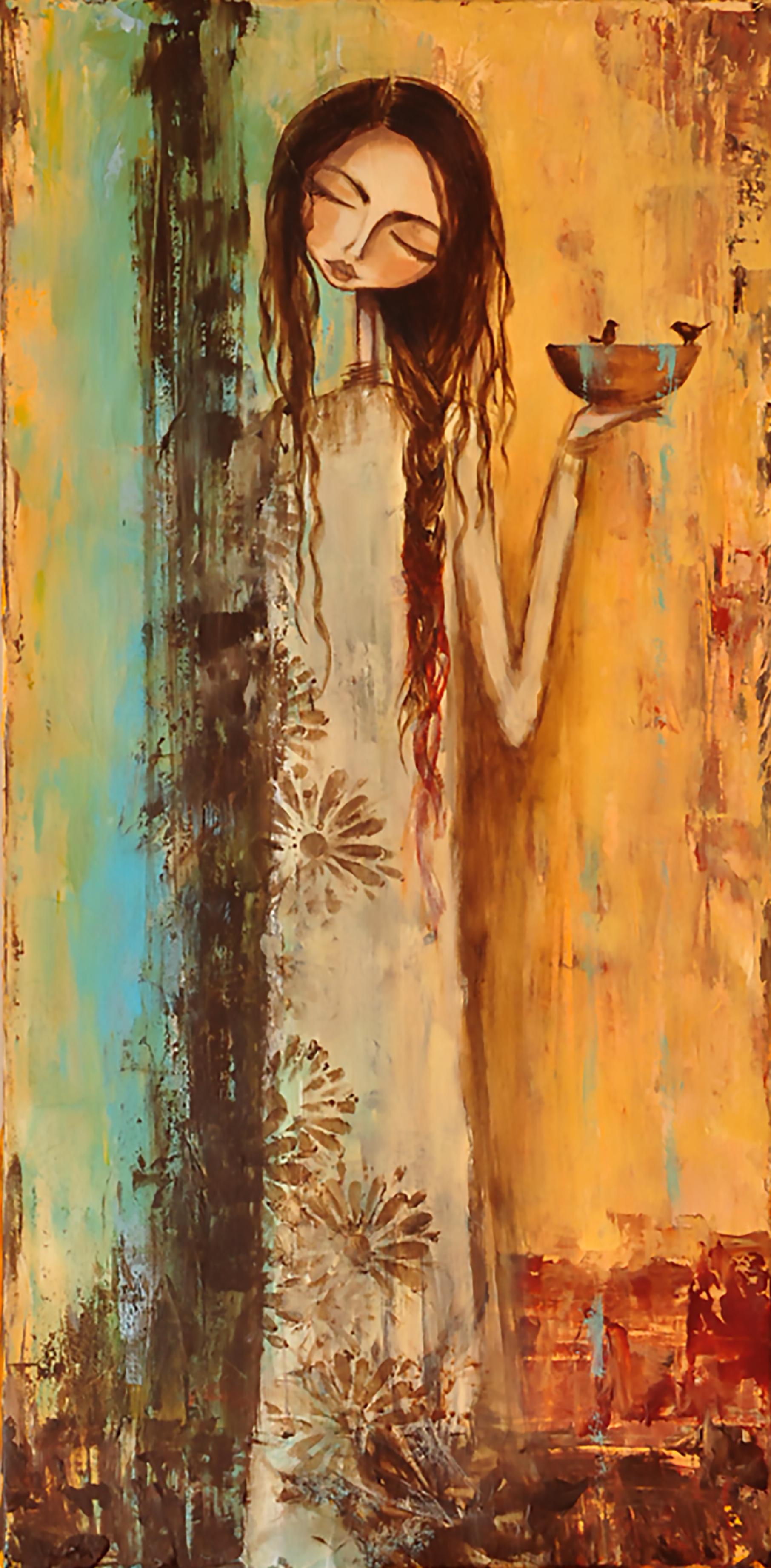 """She Prayed for Rain""   12"" x 24"" Original Tissue & Acrylic on Canvas    $375.00"