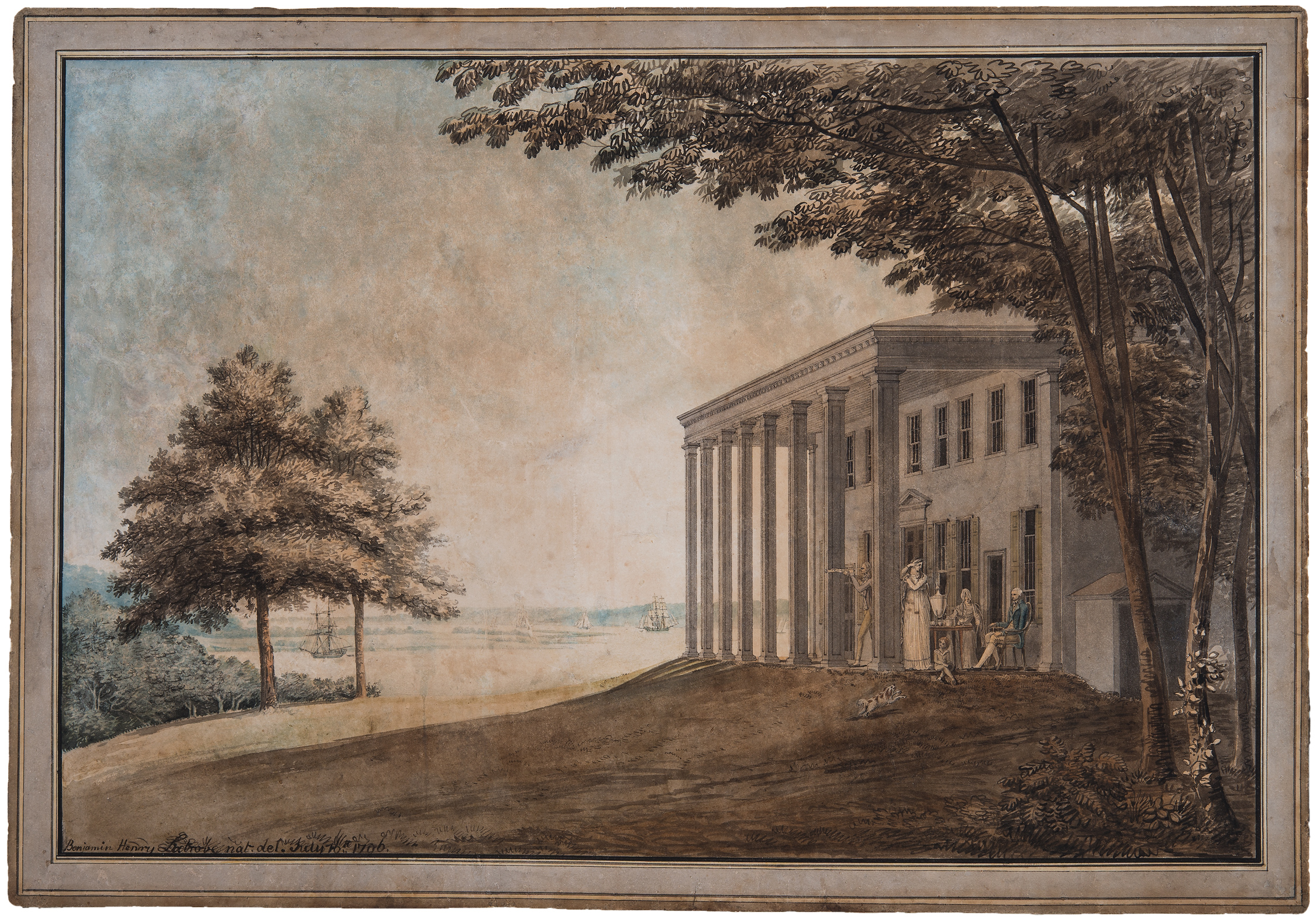 George and Martha Washington frequently entertained in elegant style on Mount Vernon's piazza, as depicted in this 1796 watercolor by architect Benjamin Henry Latrobe.