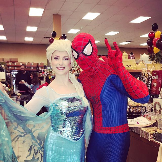 Elsa and Spidey had a great time celebrating La Rose Bakery's Birthday today! Thank you to everyone that came by to say hi! @larosemilton #birthday #fun #frozen #cake #celebrate