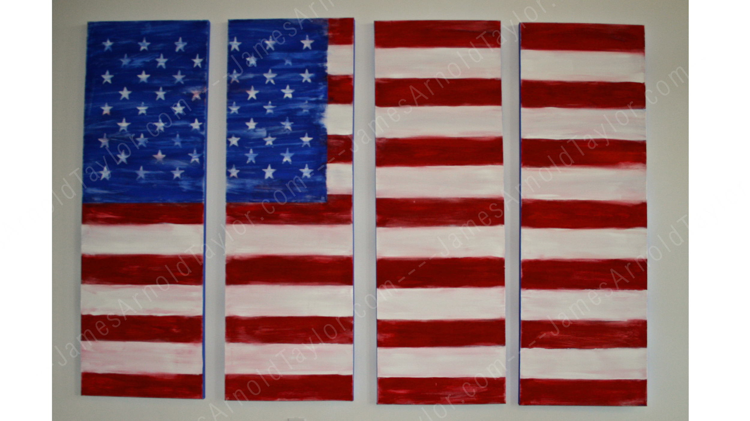 """America"" (acrylic on 4 canvas spanning 5' x 7')  By James Arnold Taylor 2010"