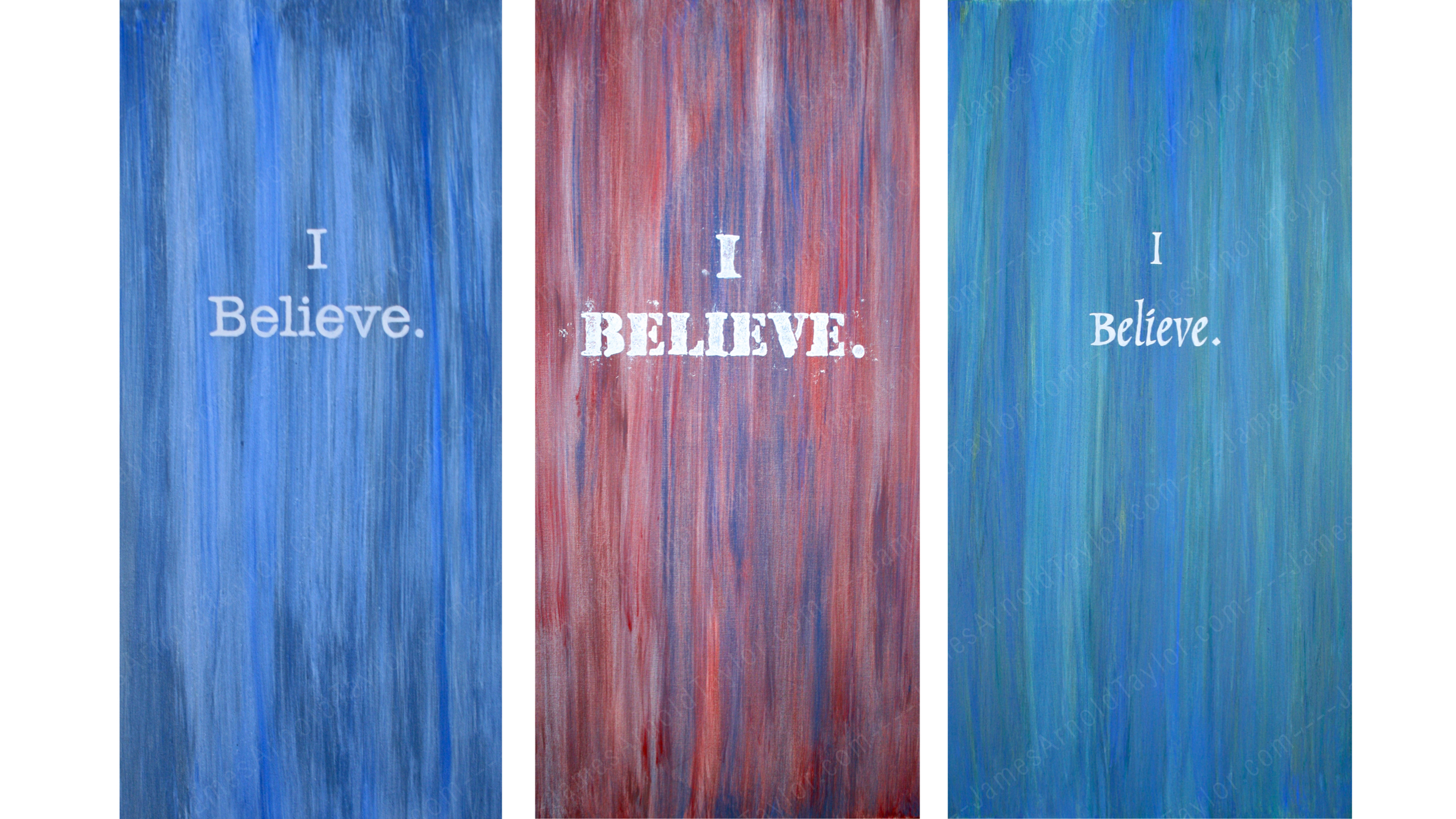 """I Believe."" (clay & acrylic on 3 canvas 4' x 2') By James Arnold Taylor 2012"