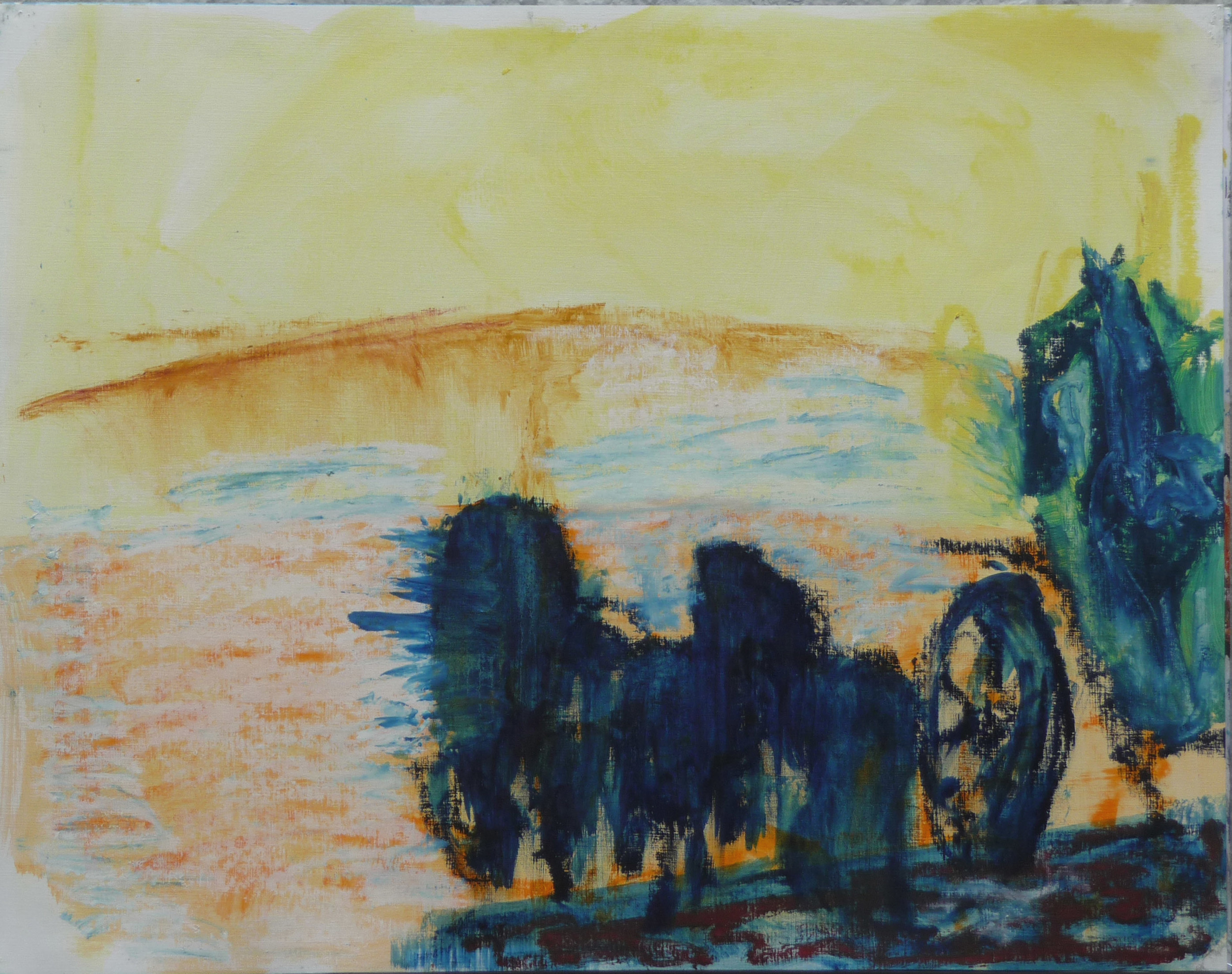 La Quardrilla 1, Olie baar op papier, 50 x 64 cm
