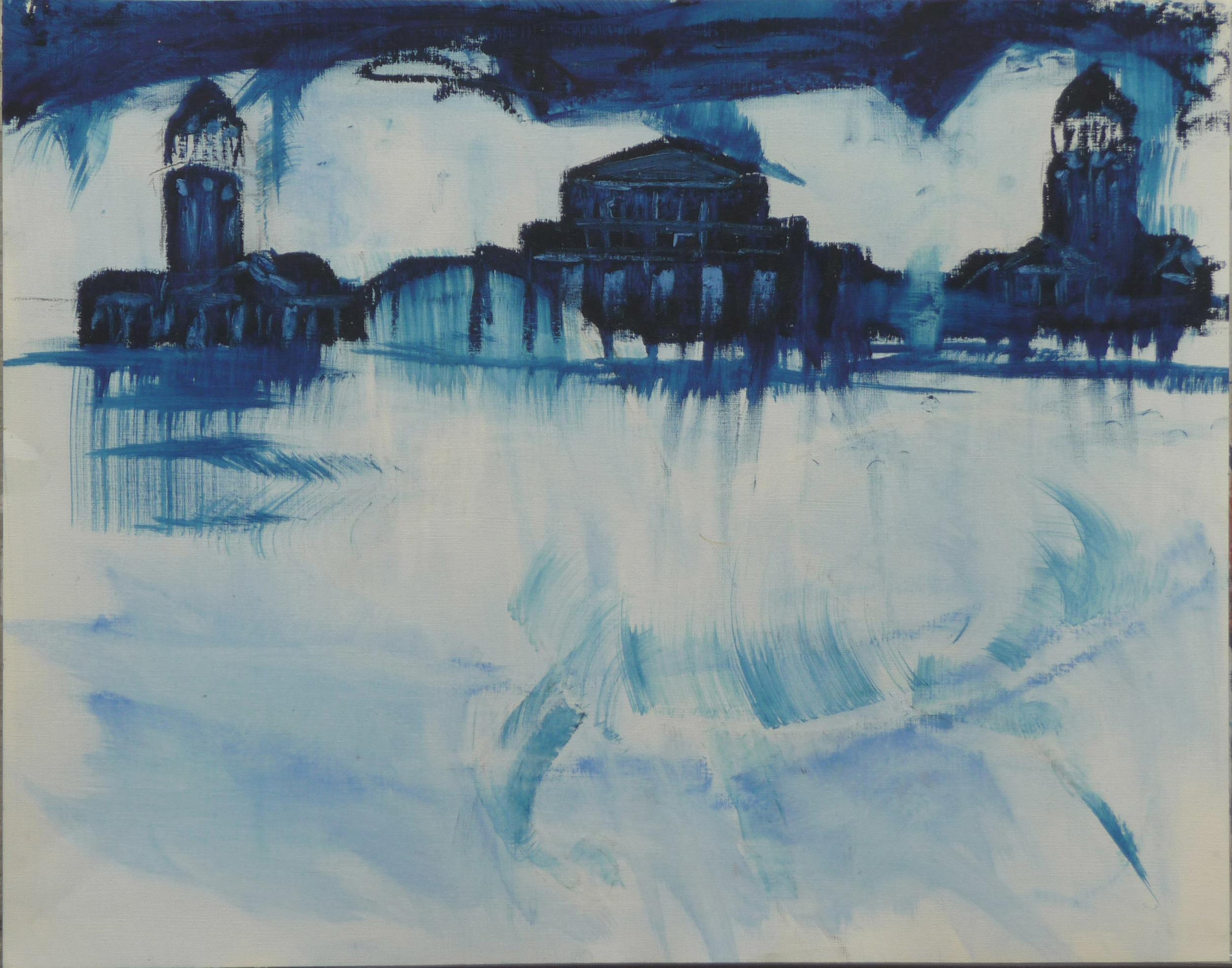 Gendarmenmarkt 4, Olie baar op  papier, 50 x 64 cm