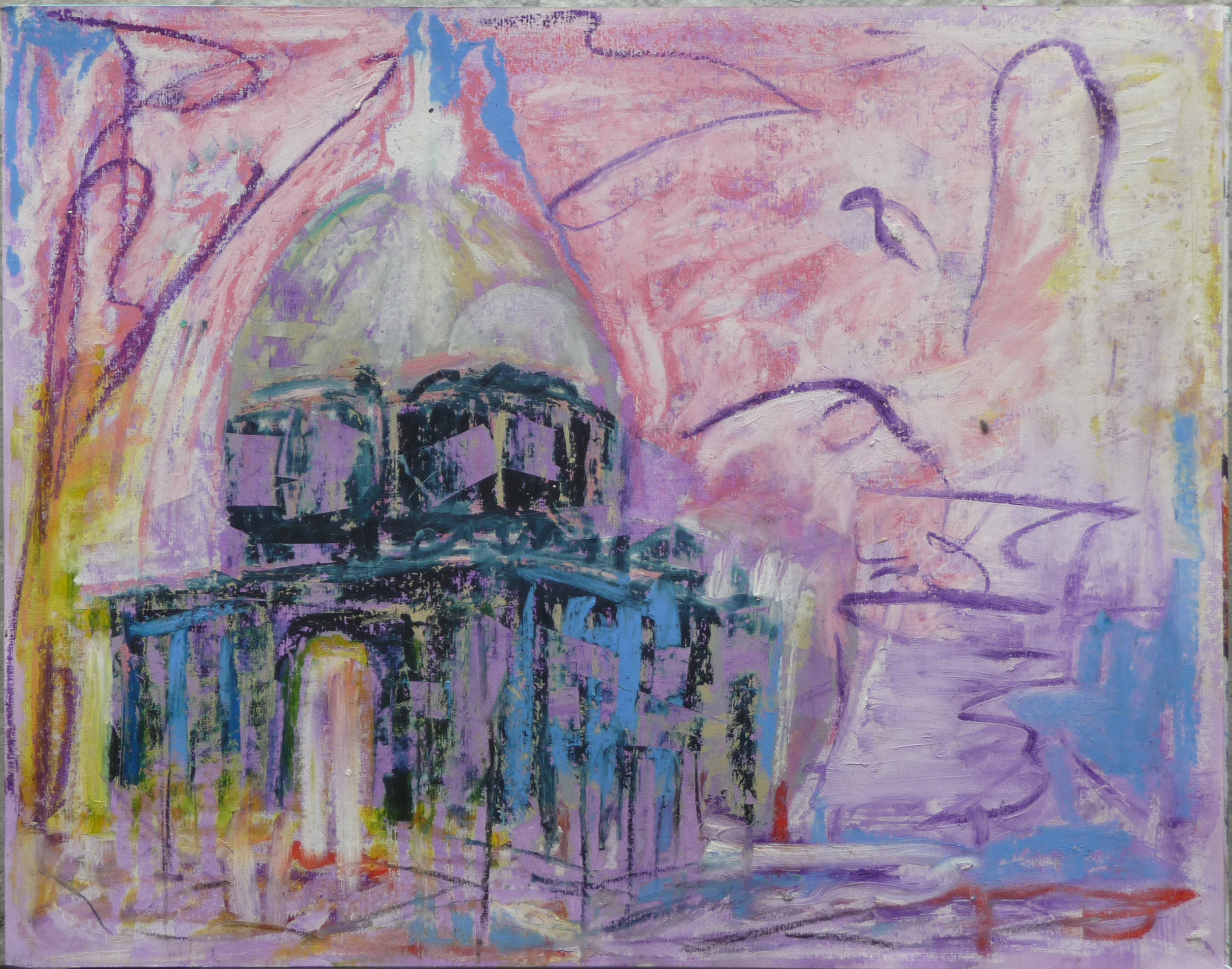 Dom, Olie baar op papier, 50 x 64 cm