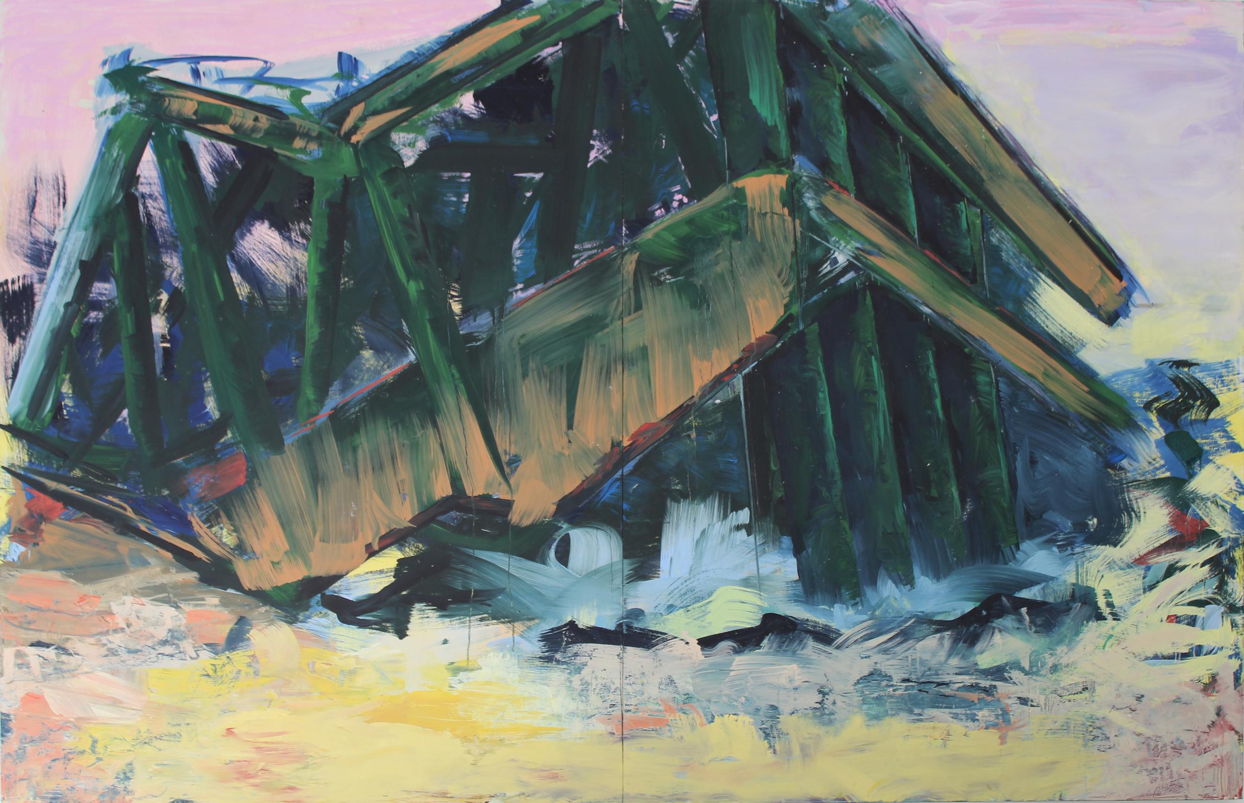 Z.t. 9, olieverf op hout, 170 x 350 cm