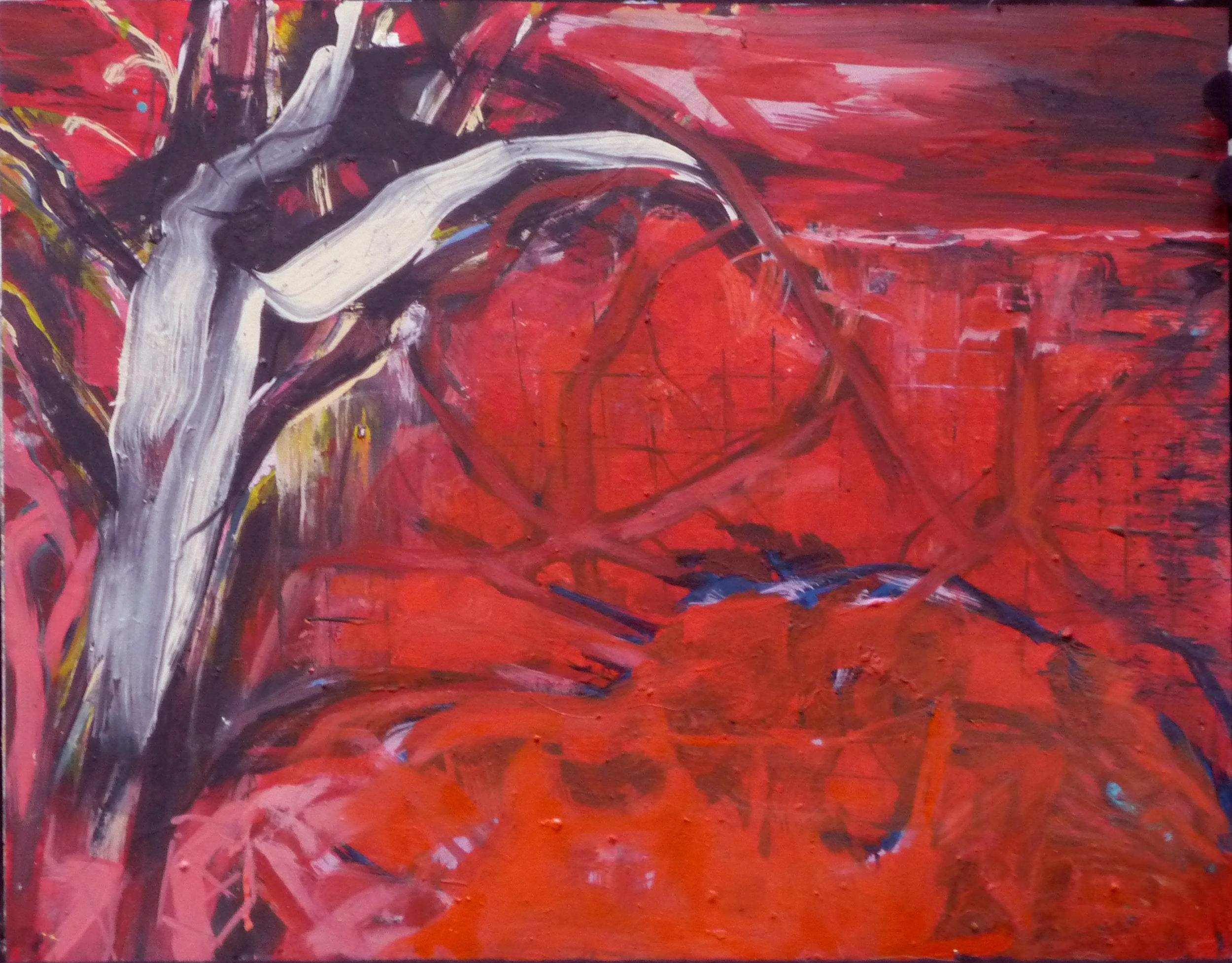 Boom aan muur, oil on canvas, 50 x 64 cm