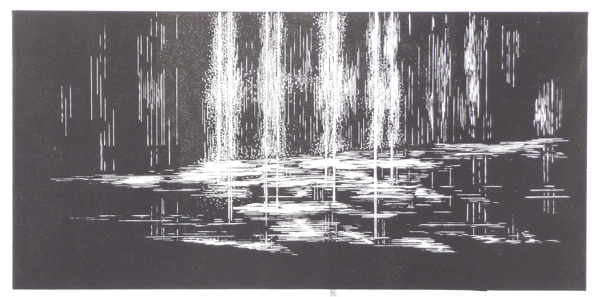 Wasserspielel, linoleum, 28 x 60 cm, 2017