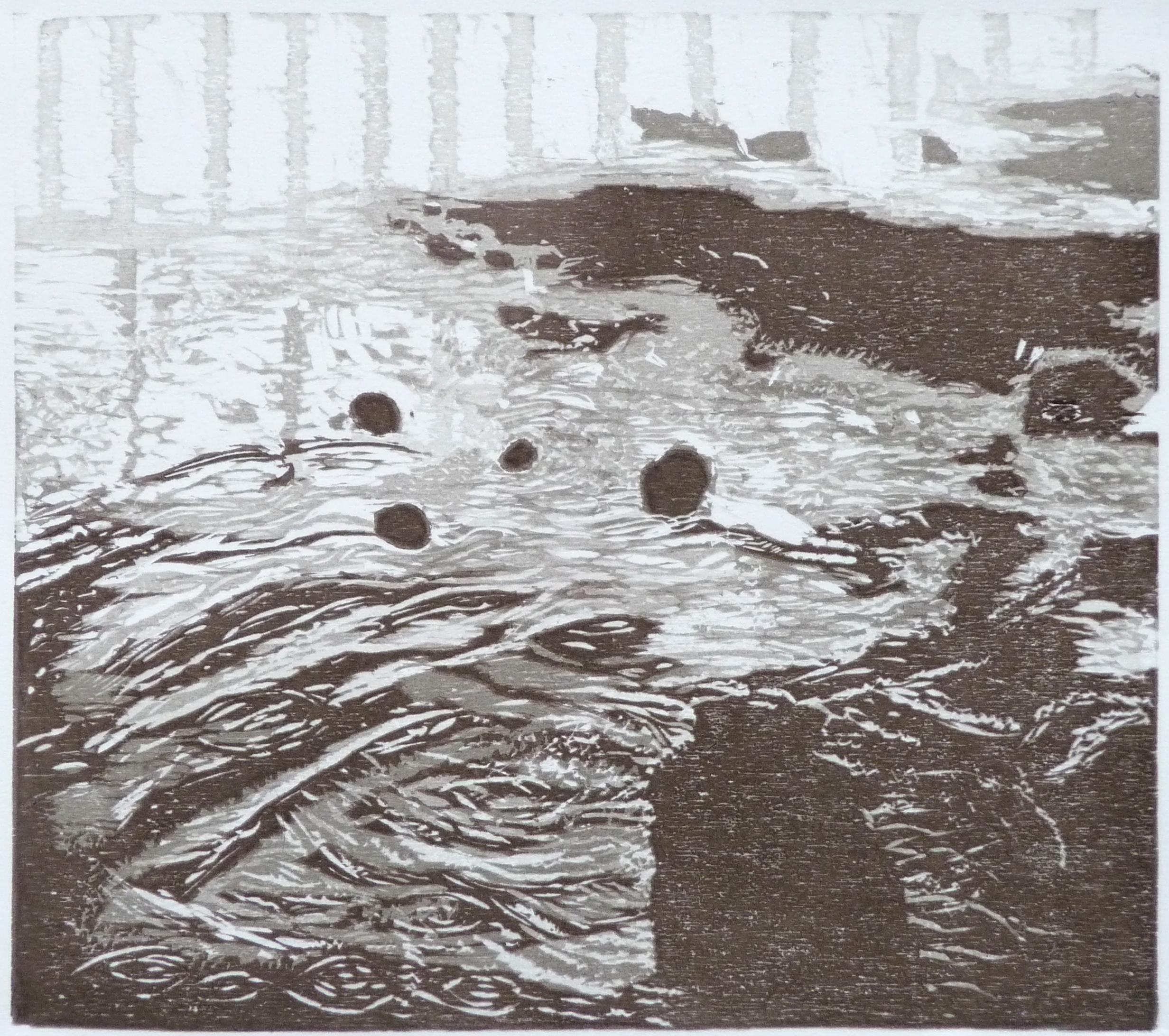 Gewässer, woodcut, 31 x 35 cm, 2016