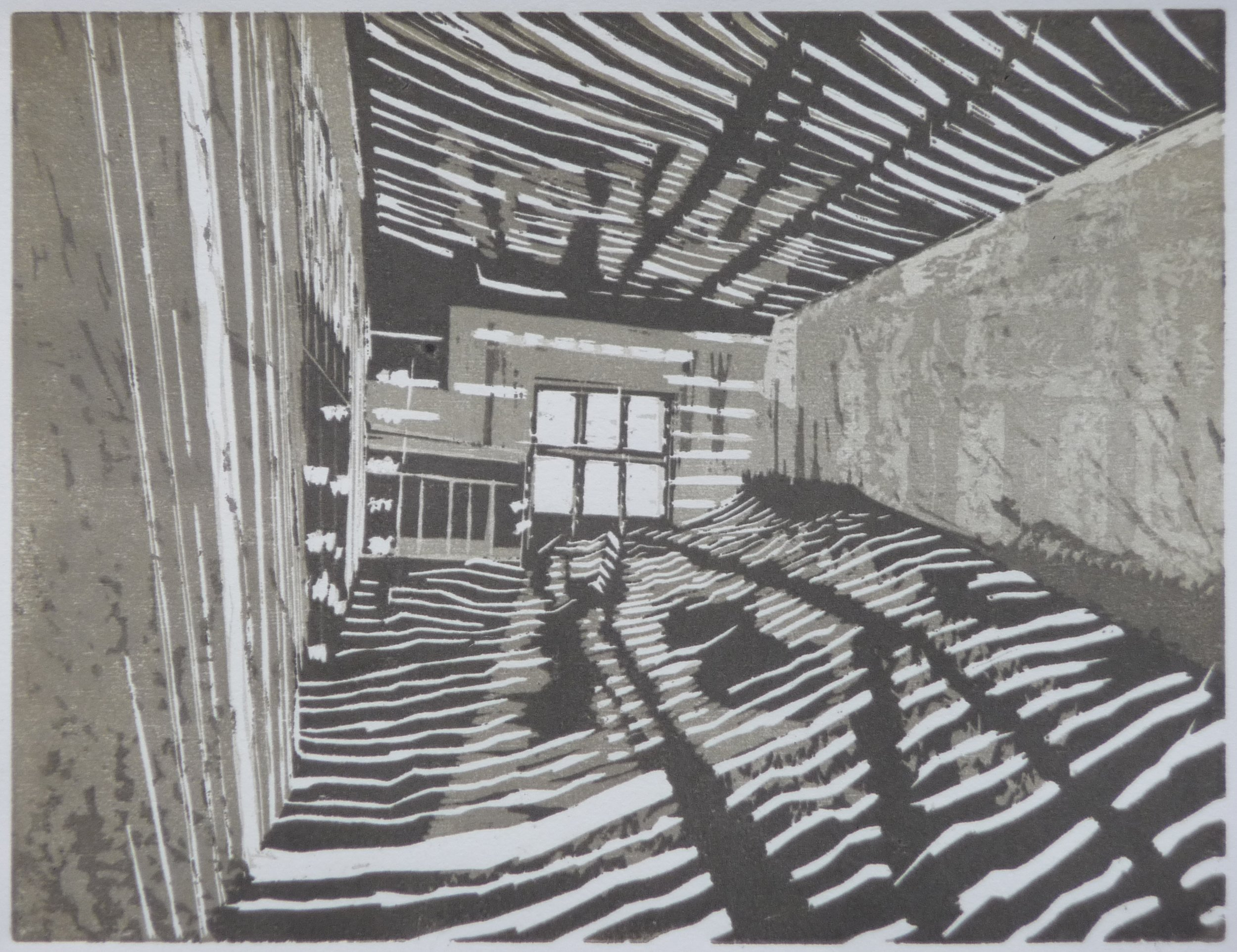 Raum, woodcut, 23 x 30 cm, 2014