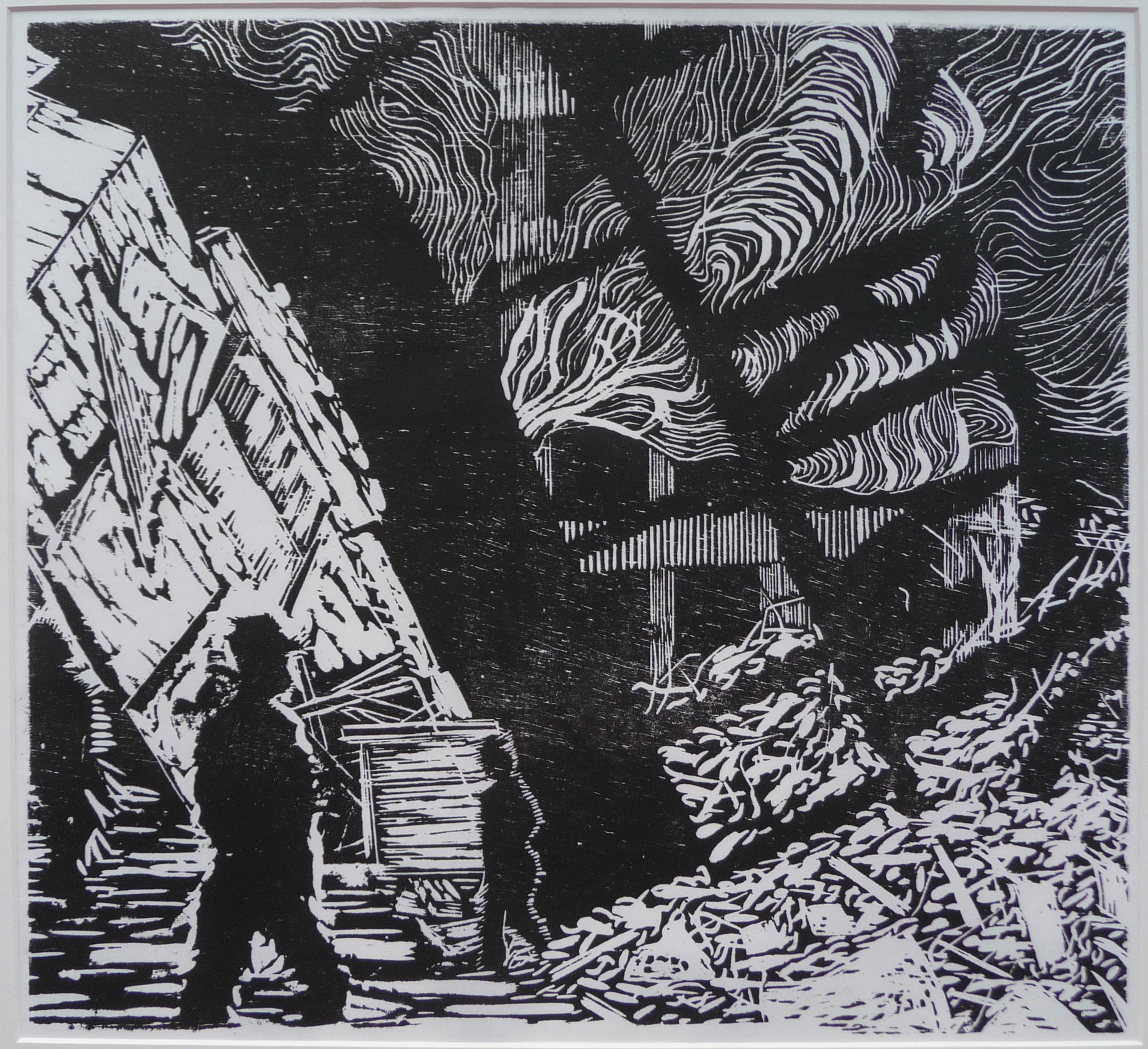 Z.t. woodcut, 48 x 52 cm, 2012