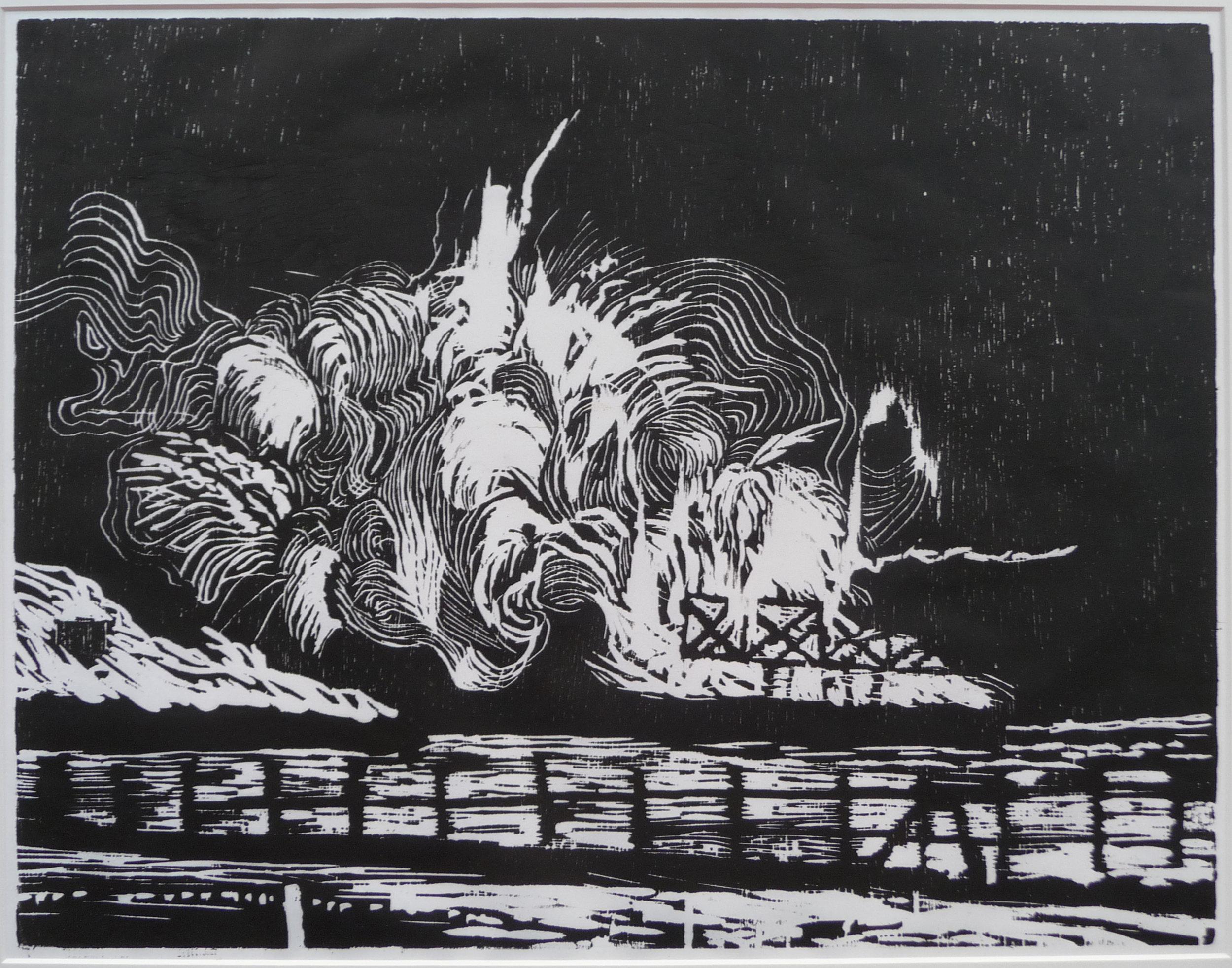 Z.t. woodcut, 25 x 34 cm, 2012