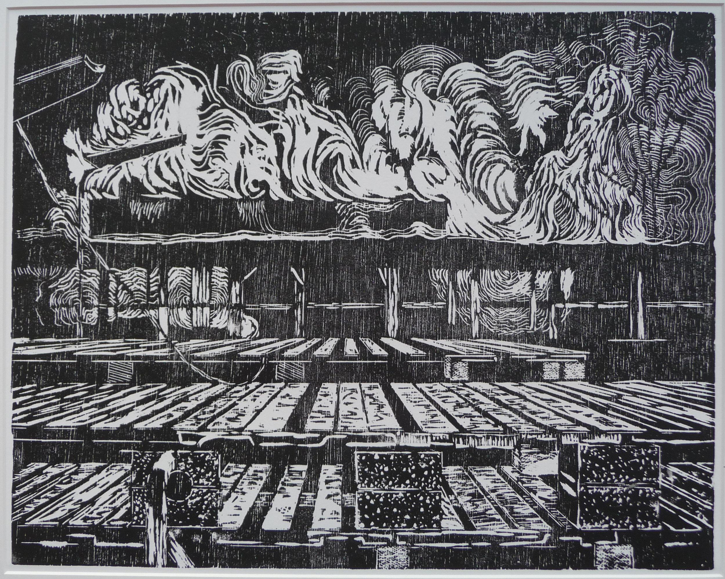 Z.t. woodcut, 39 x 49 cm, 2012