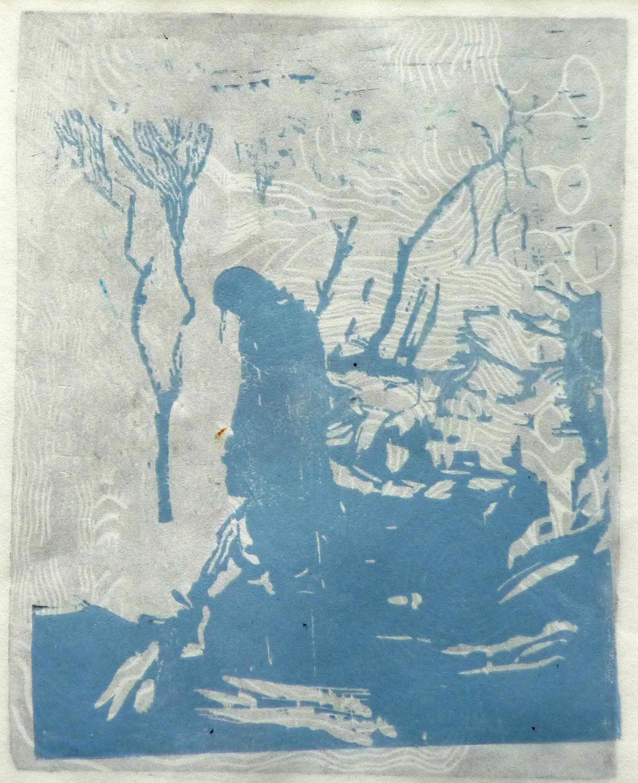 Meisje, woodcut, 20 x 24 cm, 2013