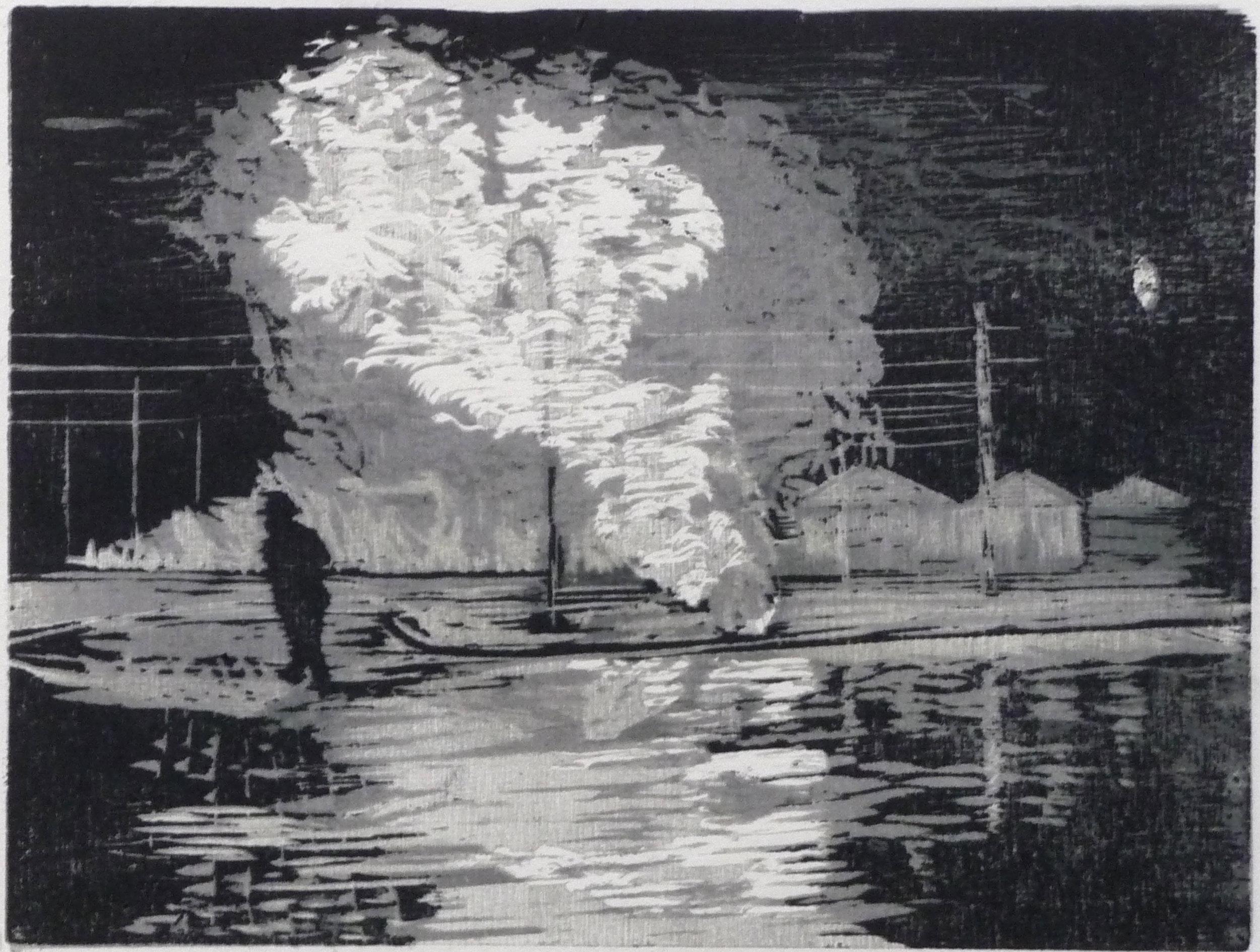 Licht, woodcut, 32 x 44 cm, 2014