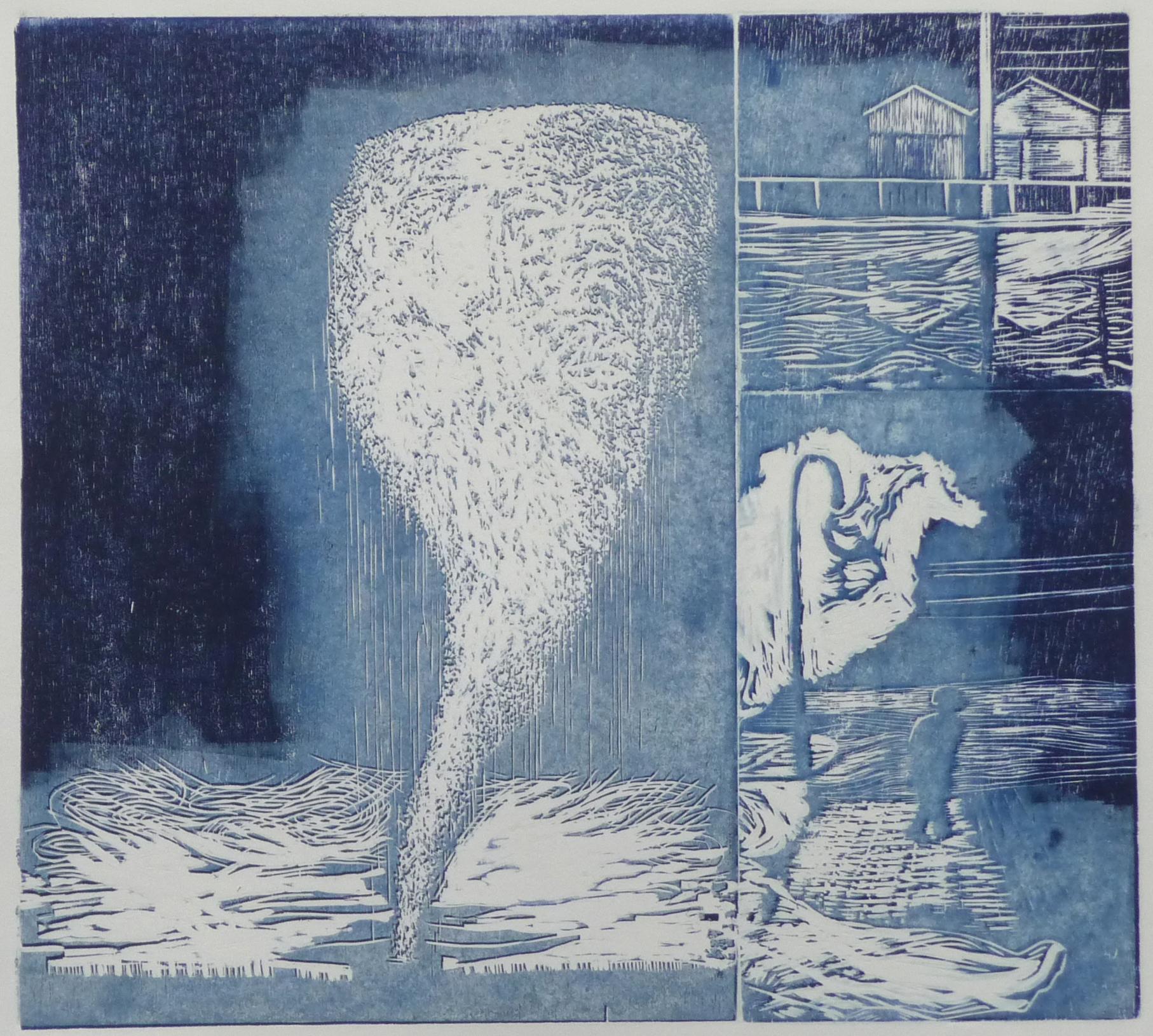 Tournado iii, woodcut, 43 x 47 cm, 2017