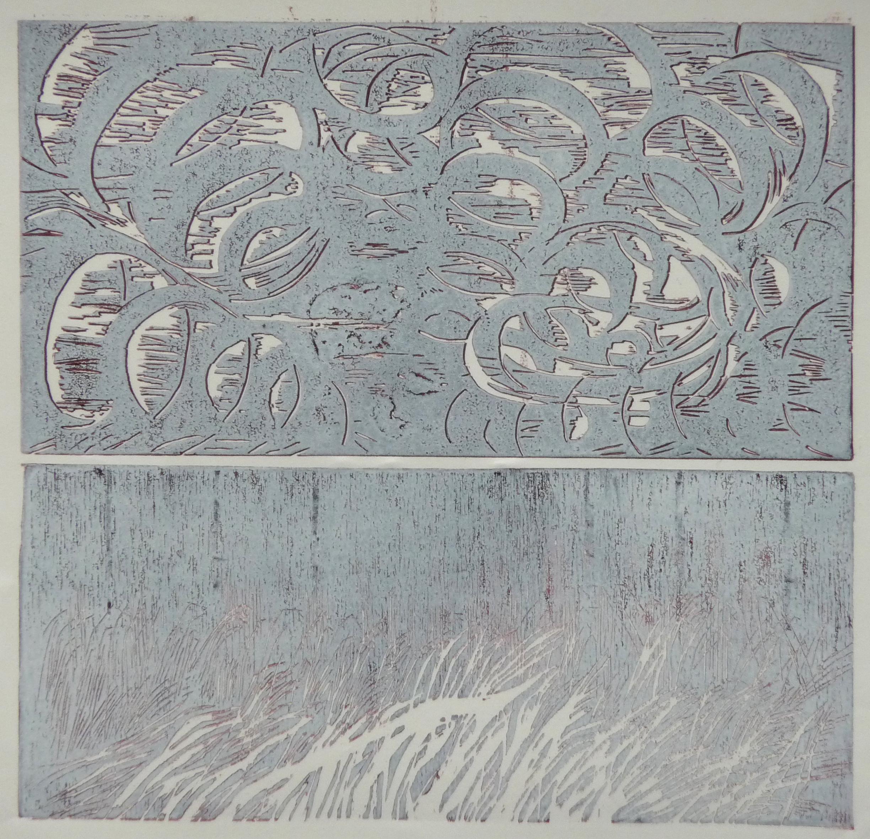 Onweer, woodcut + linoleum cut, 27 x 28 cm, 2017