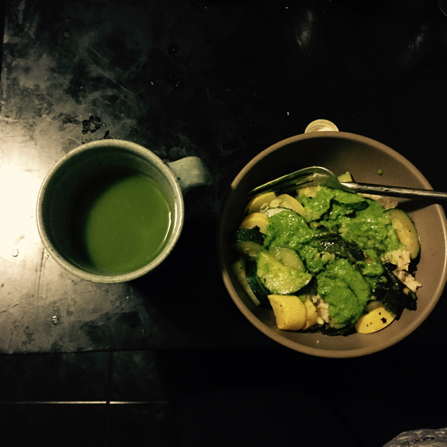 Green on green. Squash and potatos with mojo verde served with a green drink.