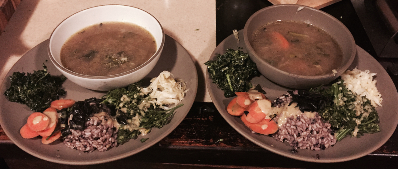 Zen style. Raw kale salad, steamed carrots, steamed broccolini, and brown and black rice all drizzled with a mustard ginger tahini sauce with sauerkraut and miso soup.