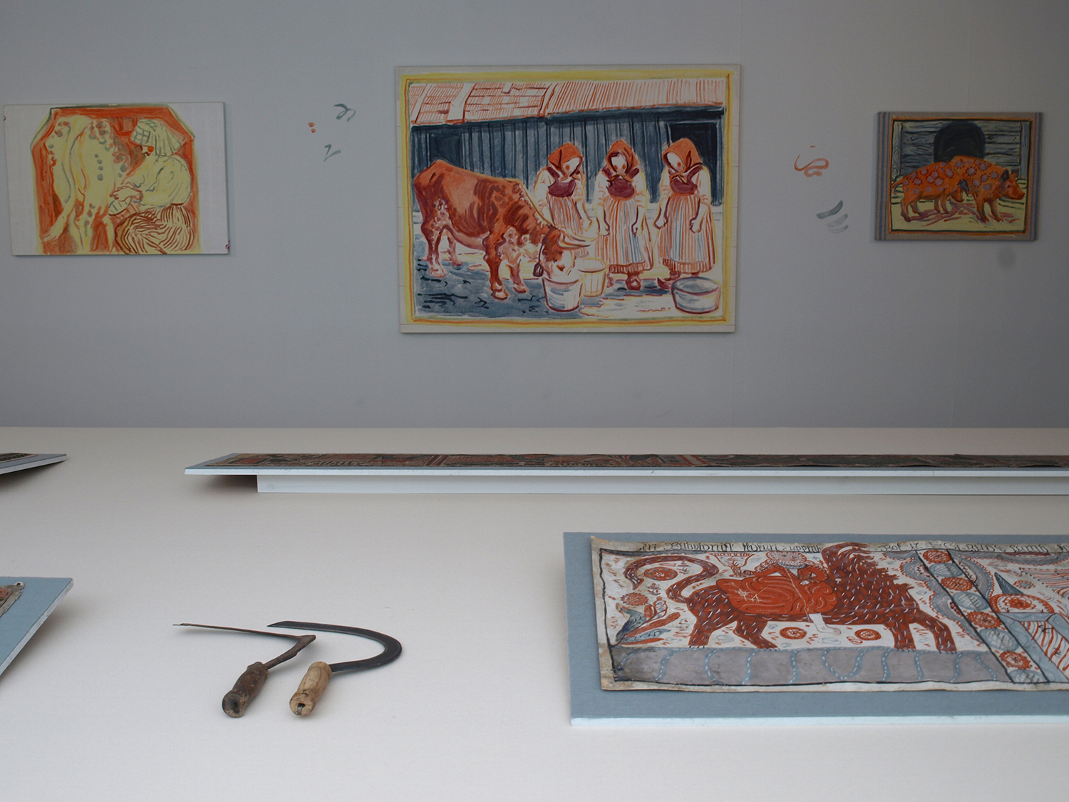 Installation shot with 'The Whore of Bablyon; The Lamb of God; The Holy Trinity; The Crown of Life' anonymous painter of the Sunnerbo school. 1819, egg tempera on rag paper, collection of Hallands Art Museum.