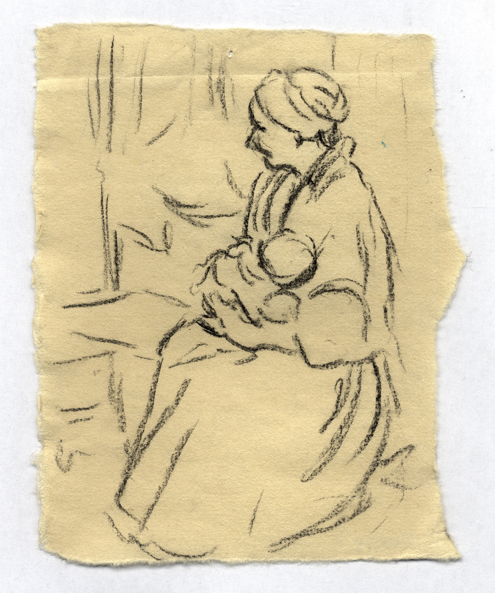 Study for Mother and Child, charcoal on paper, 2007