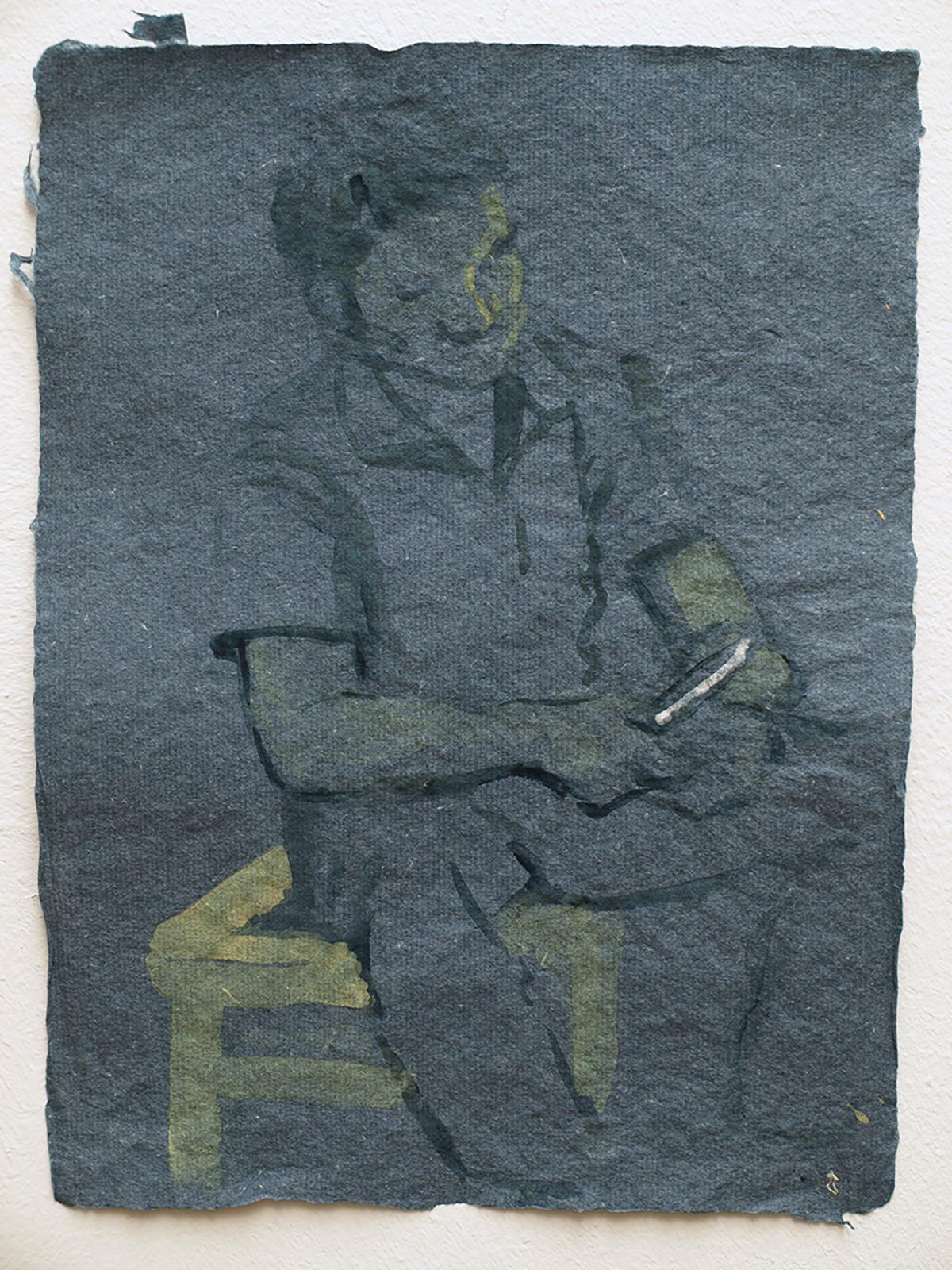 He Xiu Jun peeling bark for paper making, 2011