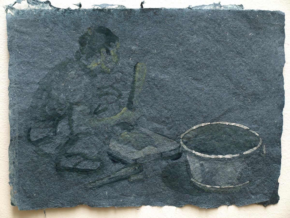 He Xiu Jun beating bark for paper, 2011