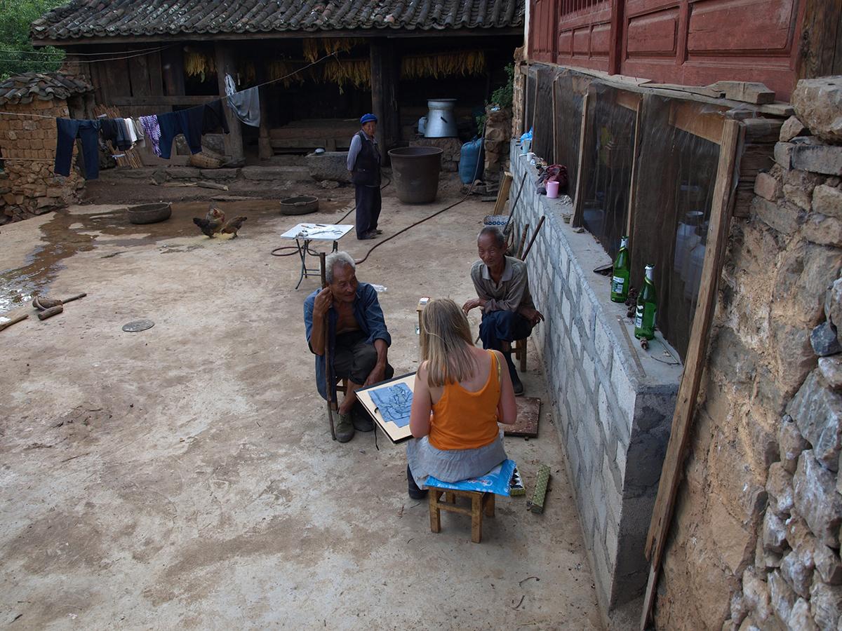 Drawing some village elders.