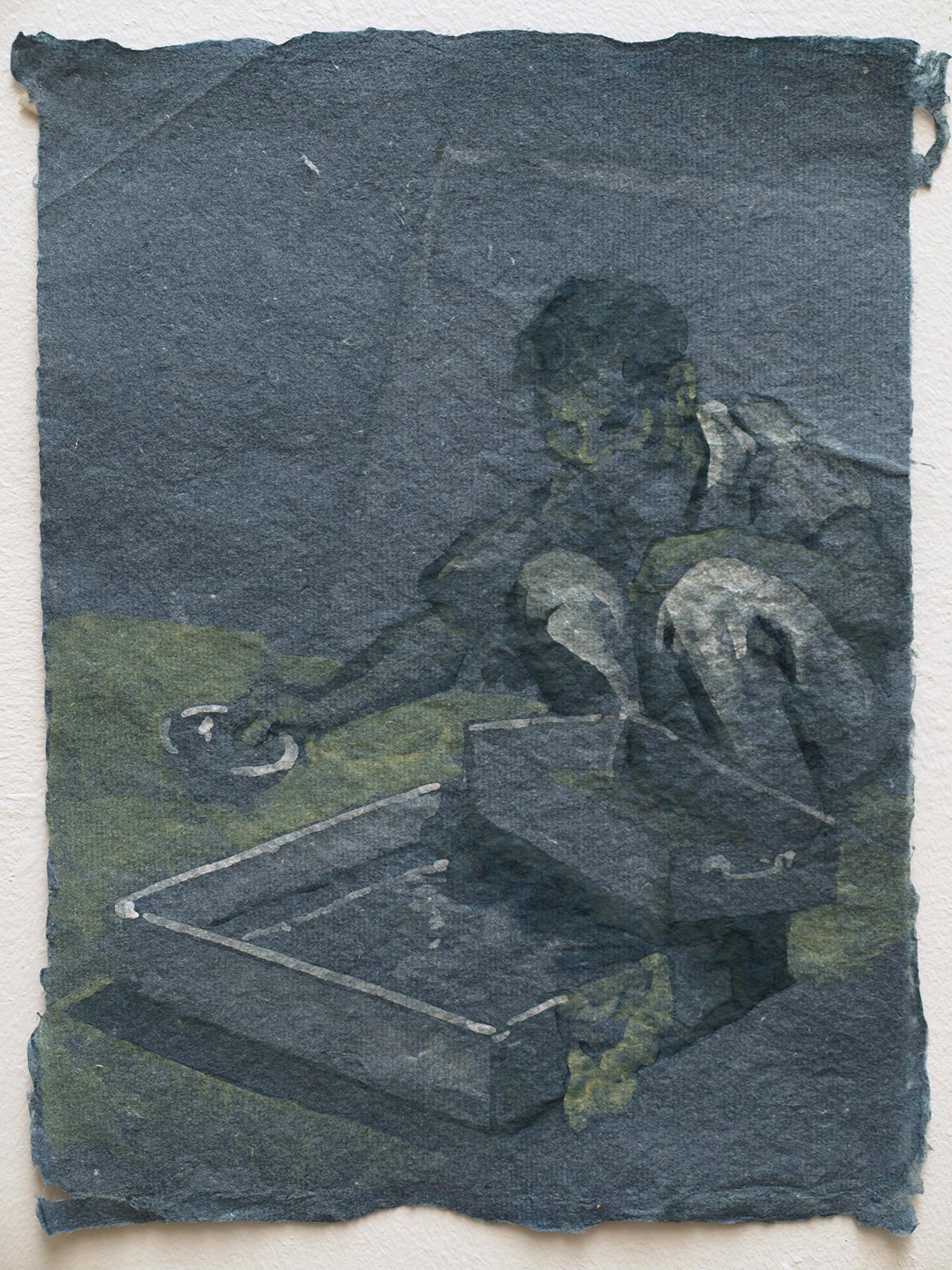 He Xiu Jun making paper, 2011