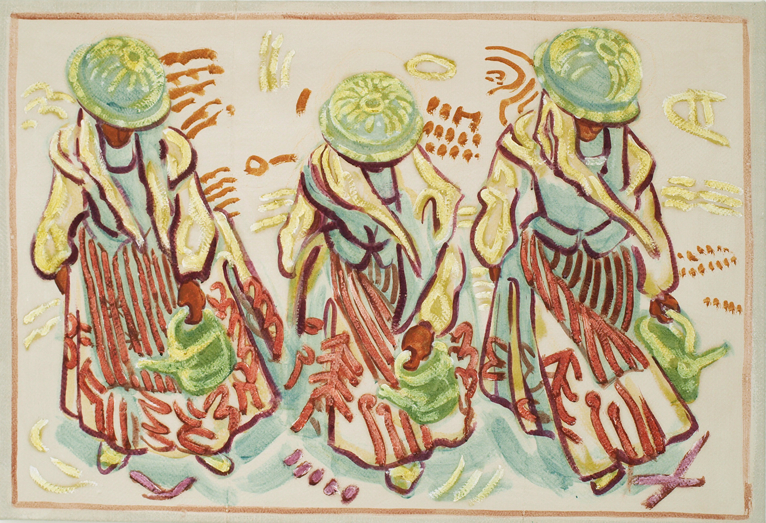 Three Peasant Women with Watering Cans, 2015