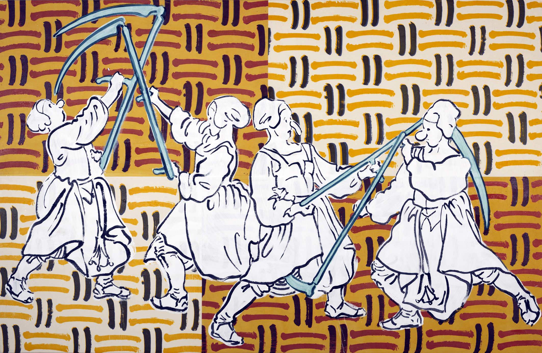Peasants fighting with scythes, 2017