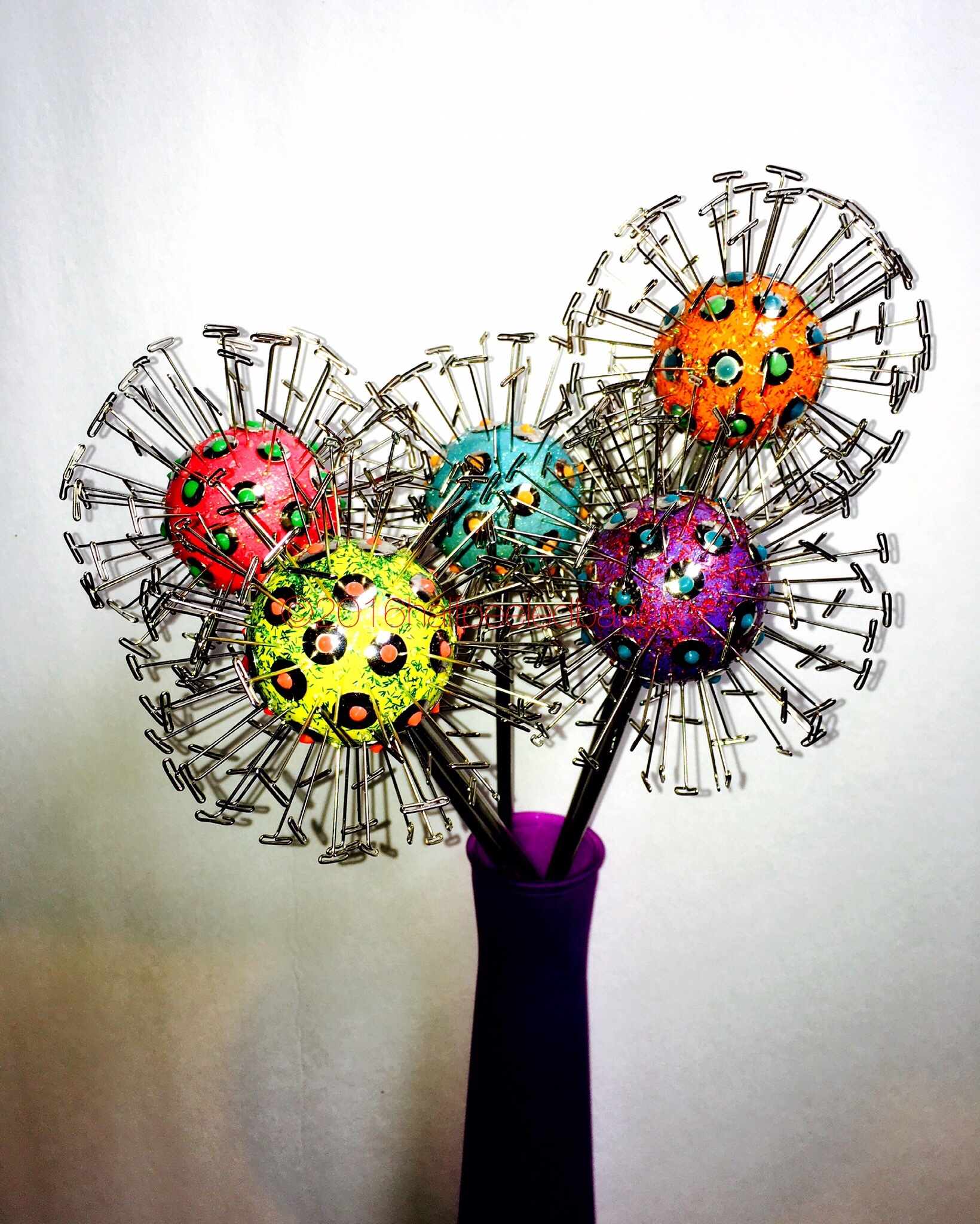 """4.5"""" dandi tabletop flowers with wood & wire stems"""