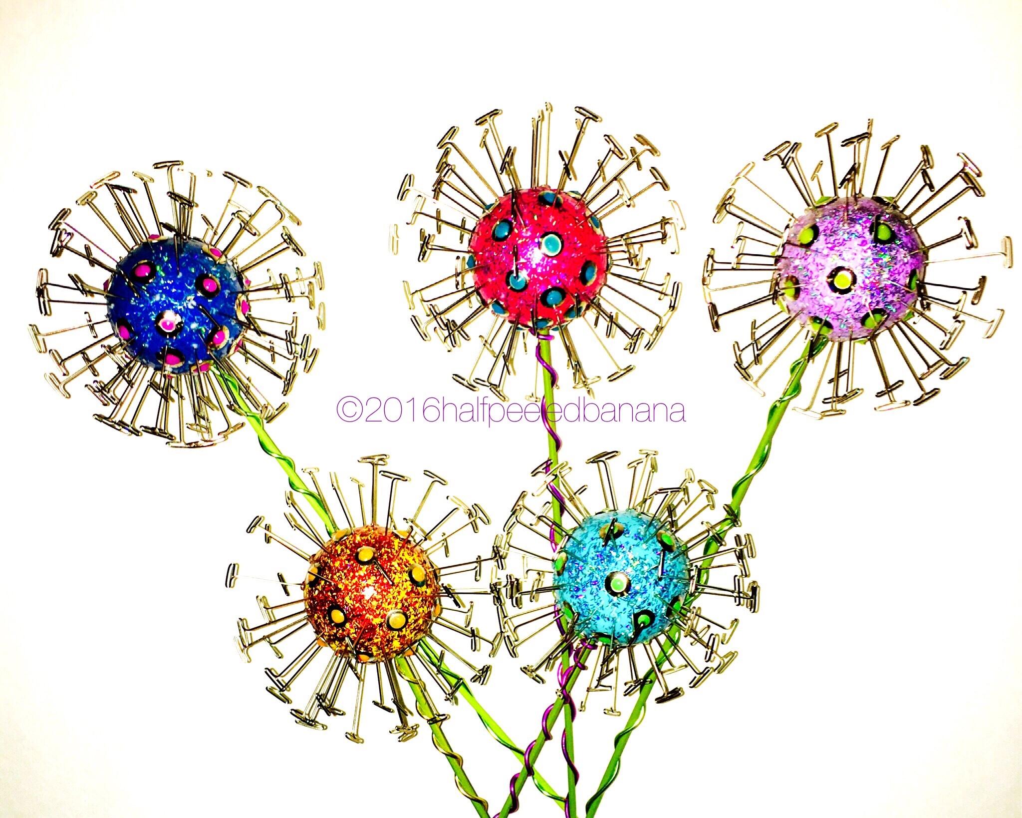 "4.5"" dandi flowers - 5 pack - wood & wire stems"