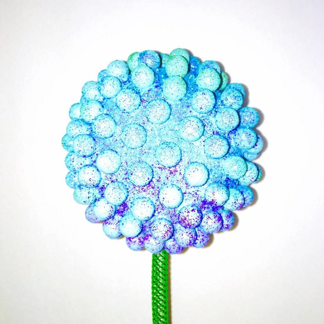 "light blue and purple garden flower 4"" nubs with 24"" stem"