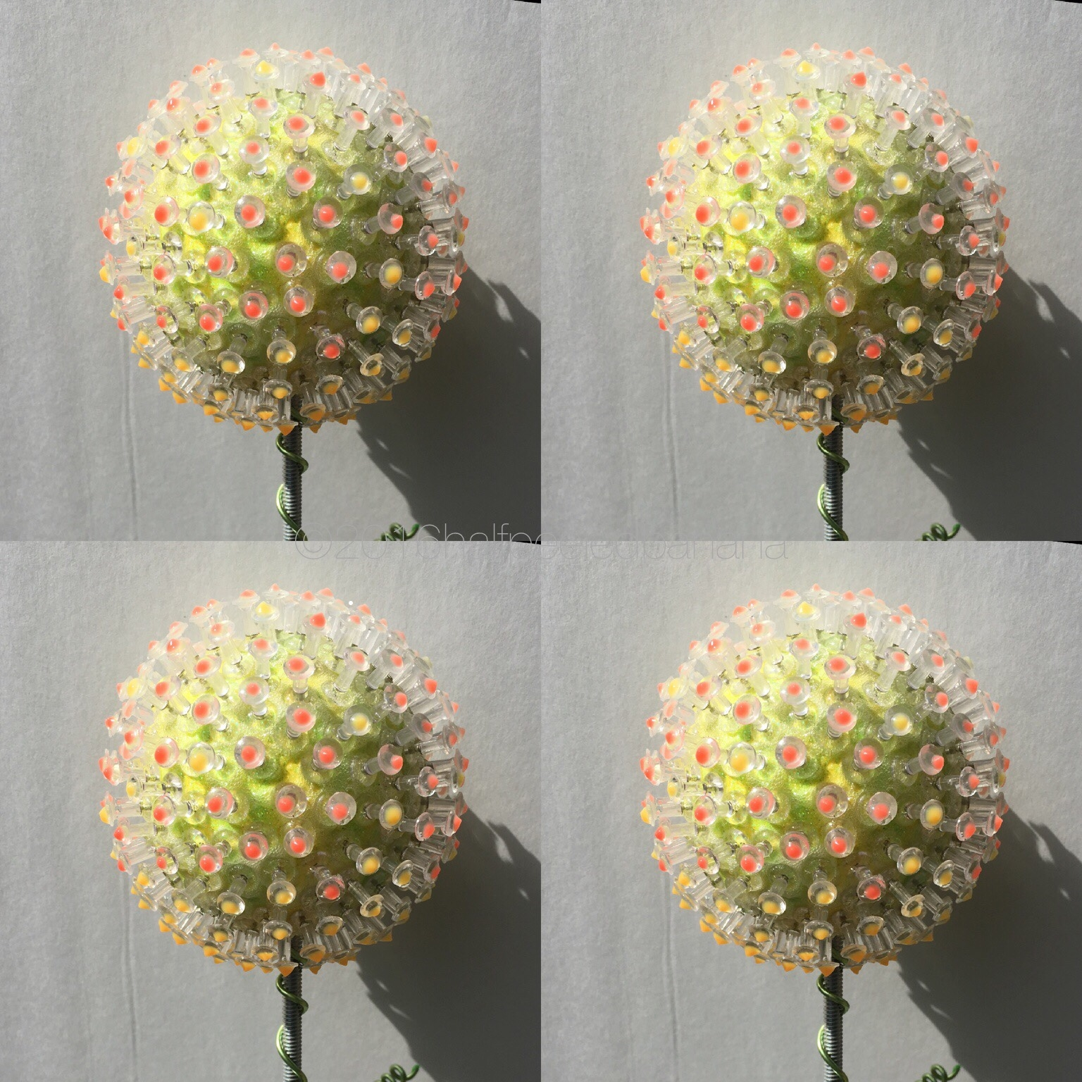 "garden art flower 5"" pin style in yellow with pik dots"