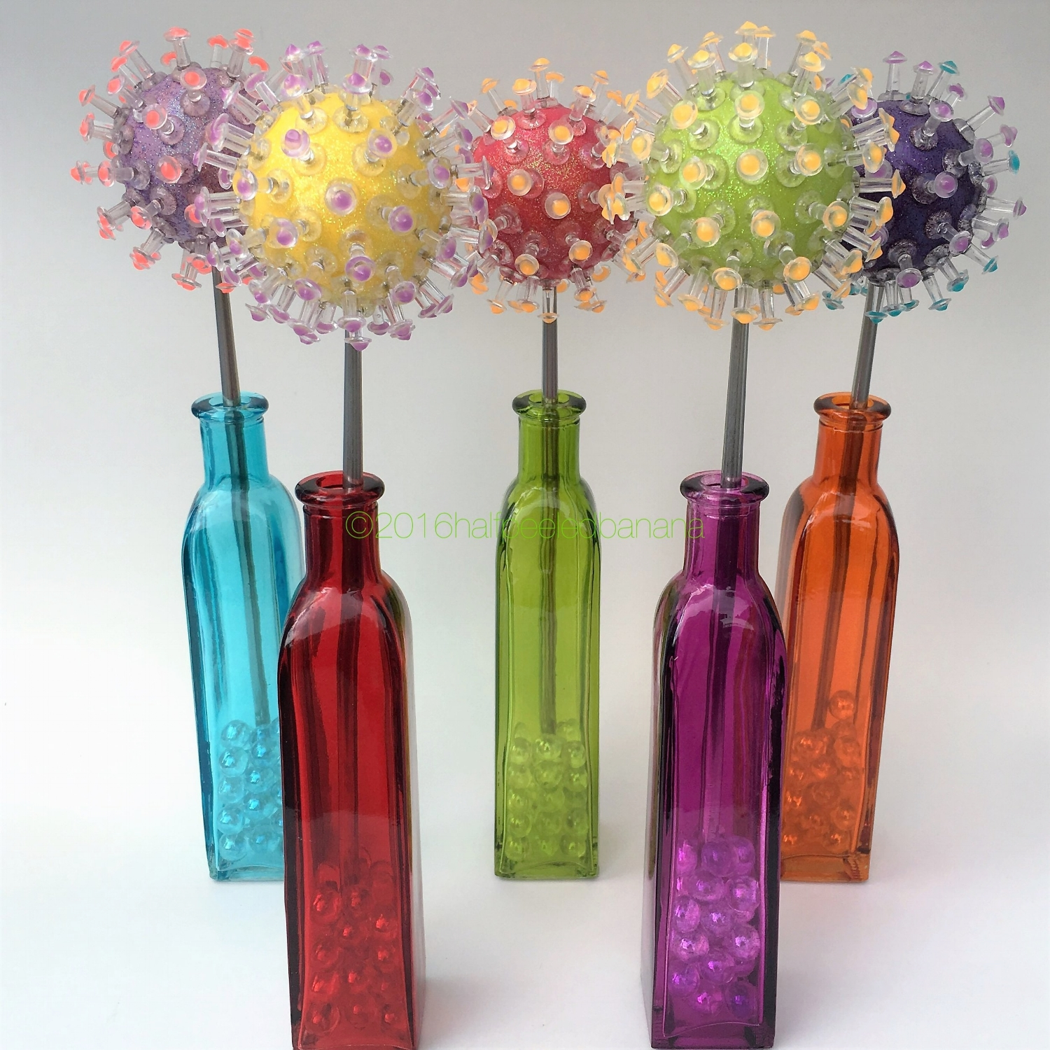 "stunning tabletop flowers 3"" pins style light purple, yellow, medium pink, lime and dark purple"