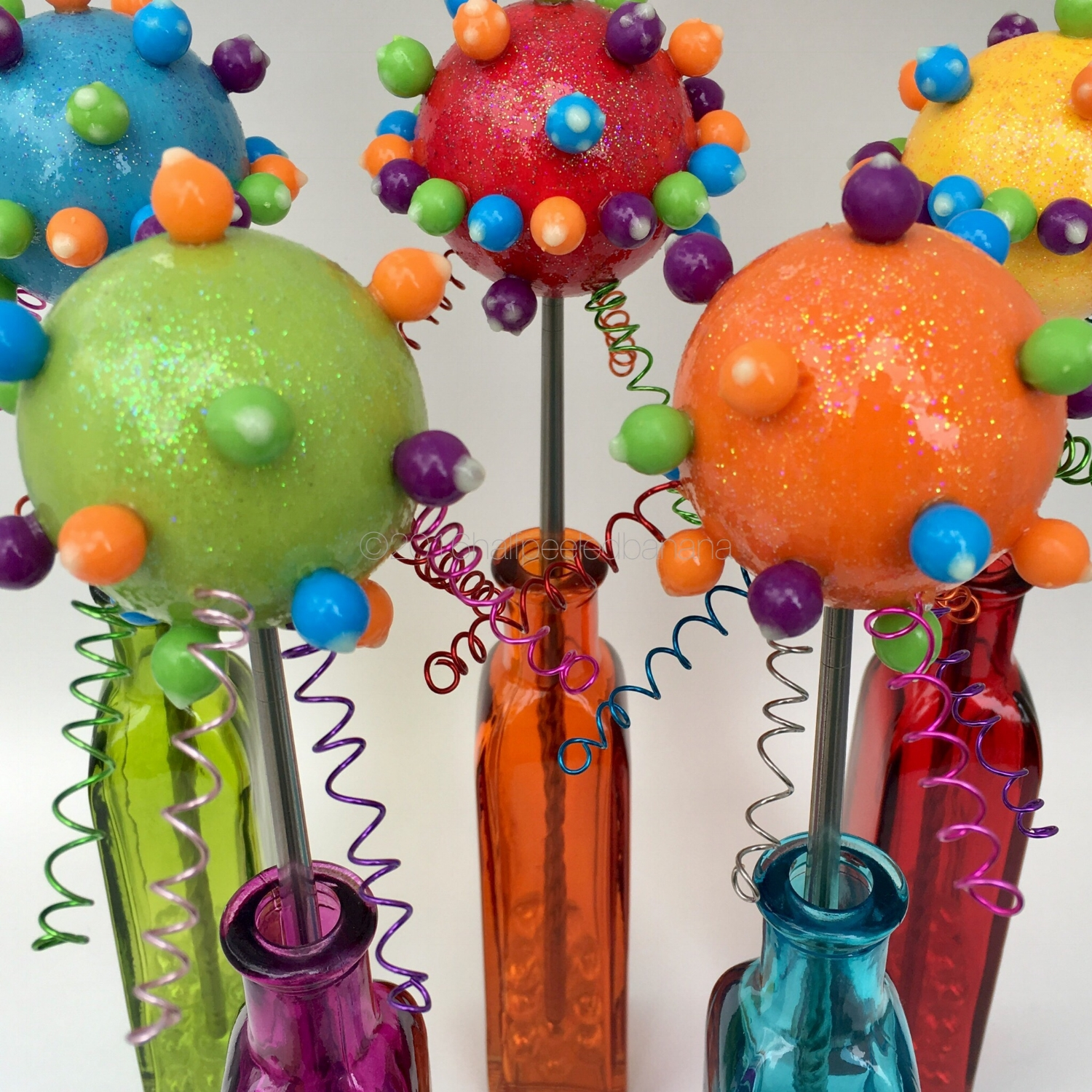 party @ your house! space inspired flowers whooping it up!