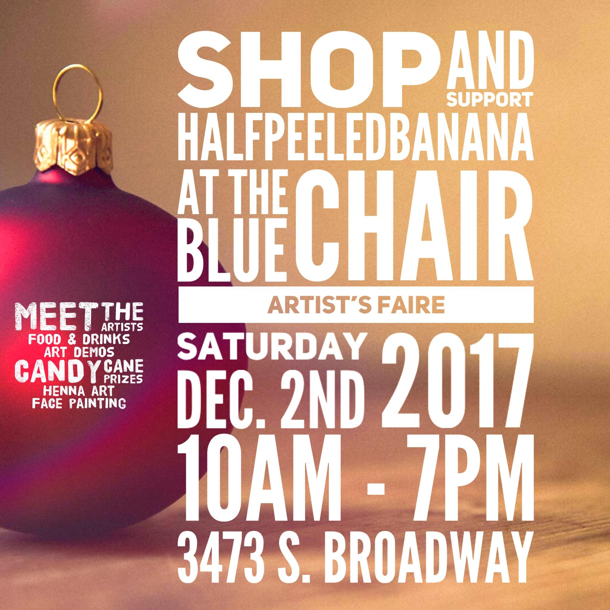 2017-12-02-artist-faire-BlueChair-halfpeeledbanana