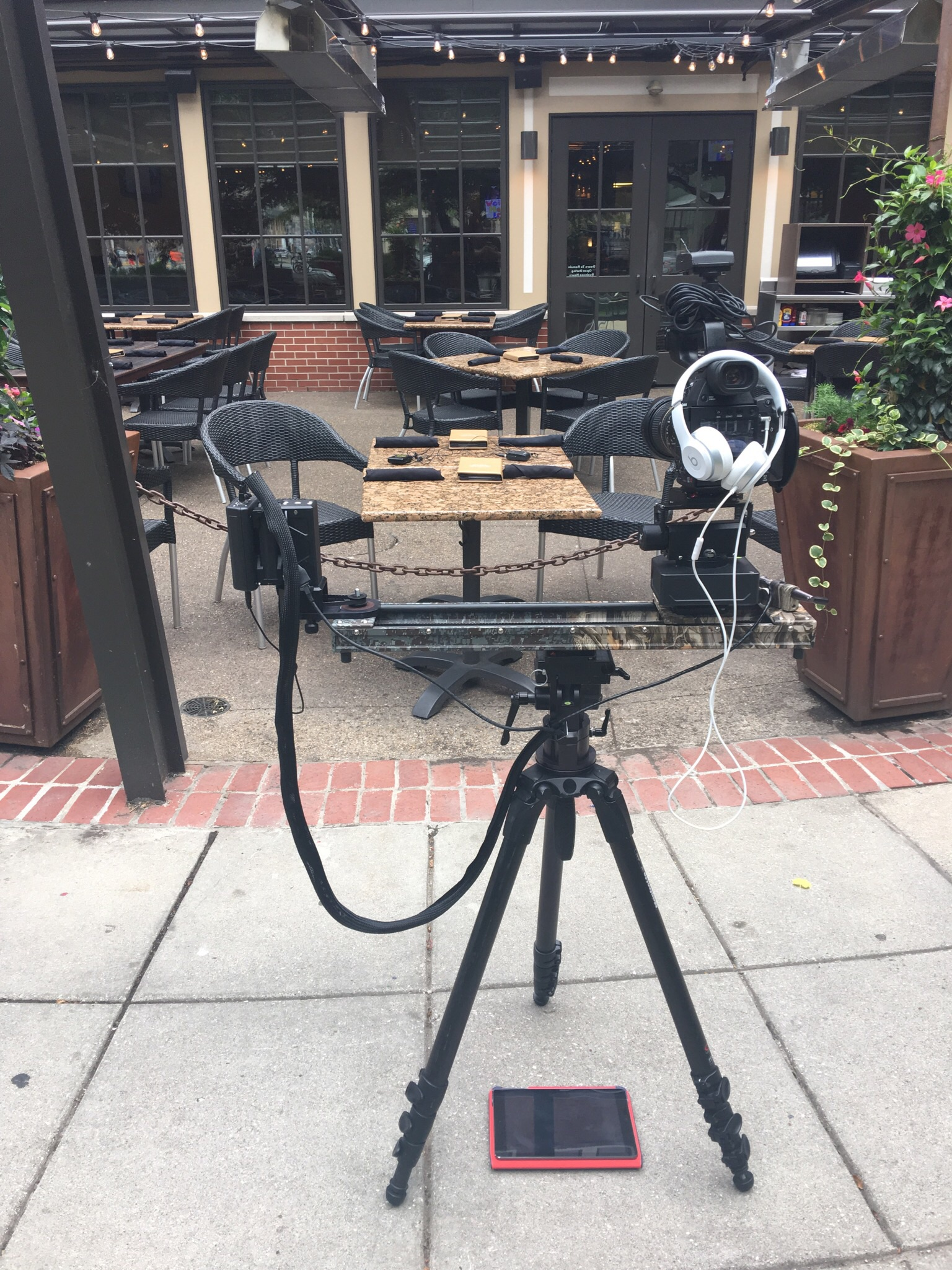 A Camera setup for the interview. Motorized setup (Kessler Cineslider and Second Shooter) with wireless monitoring from my iPAD.