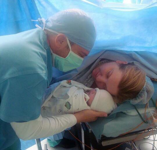 Naomi & Michael Voss after her cesarean birth!