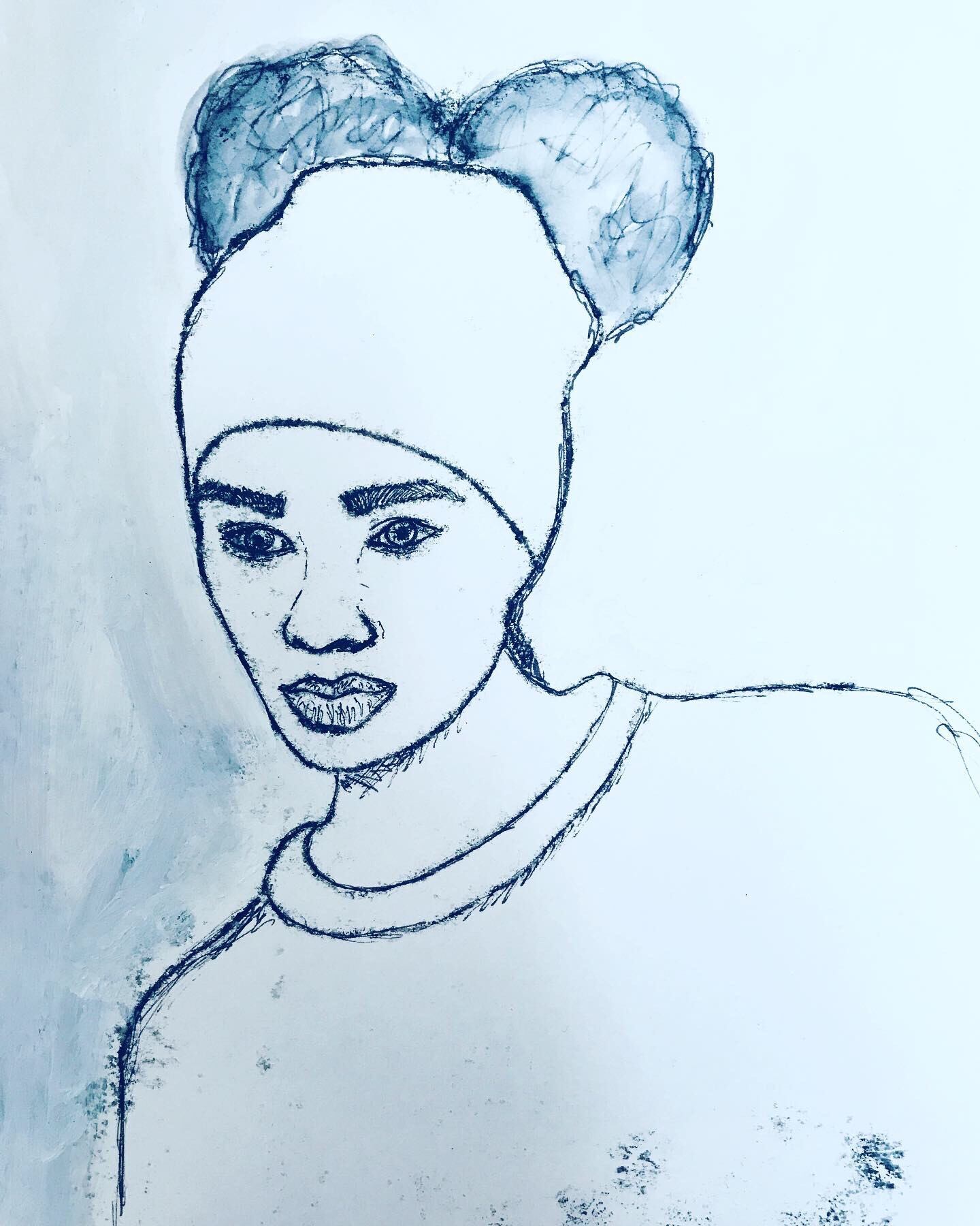 Girl with a Pom Pom Hat - mono print with acrylic paint.