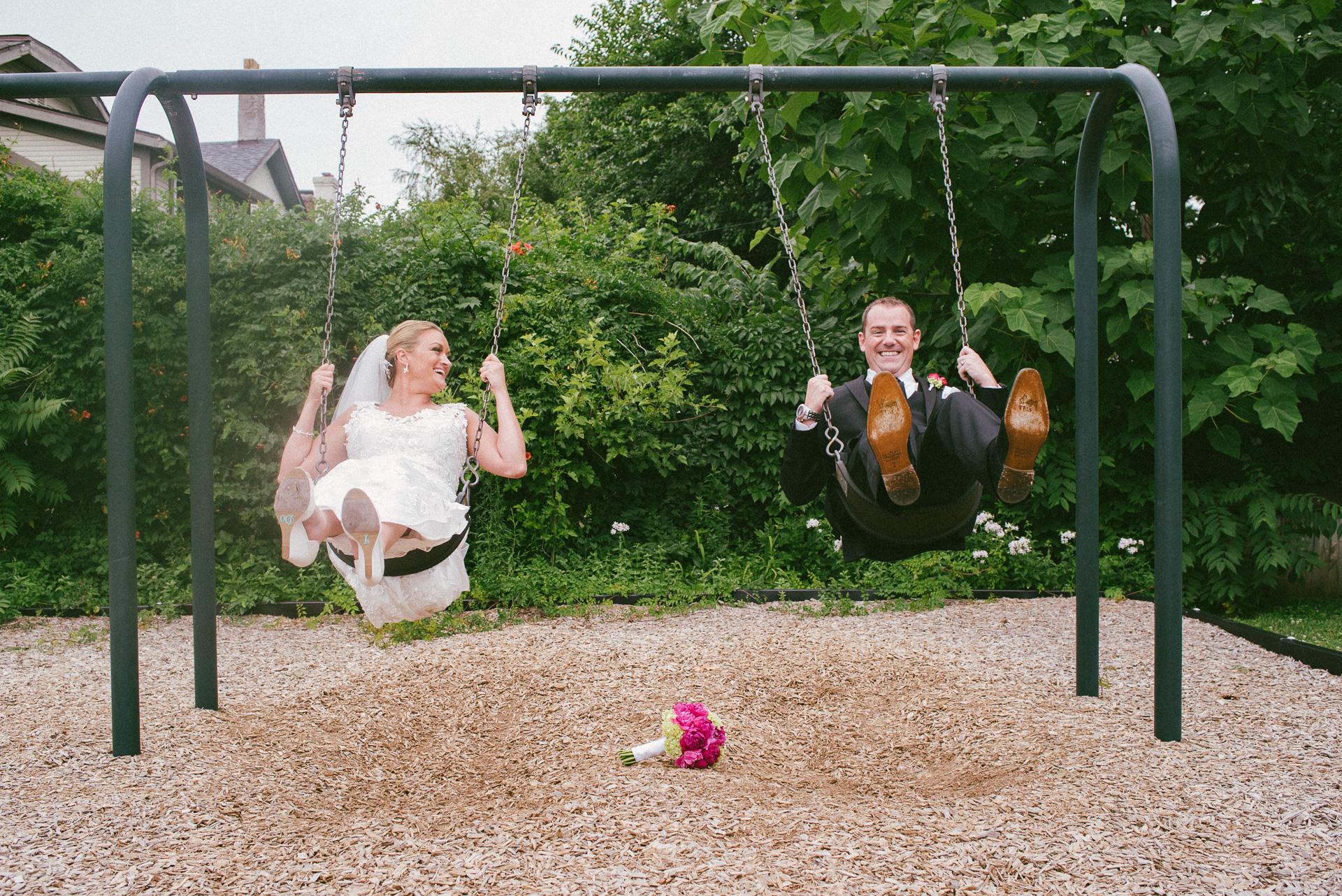 Dayton Wedding Photographer - Bride and Groom on Swing